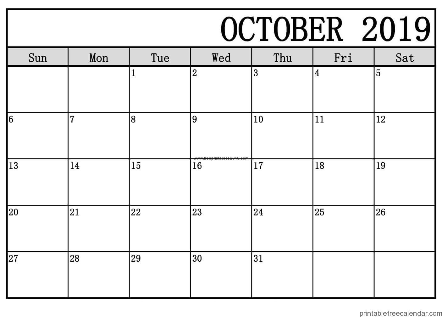 Blank Calendar Pages October 2019