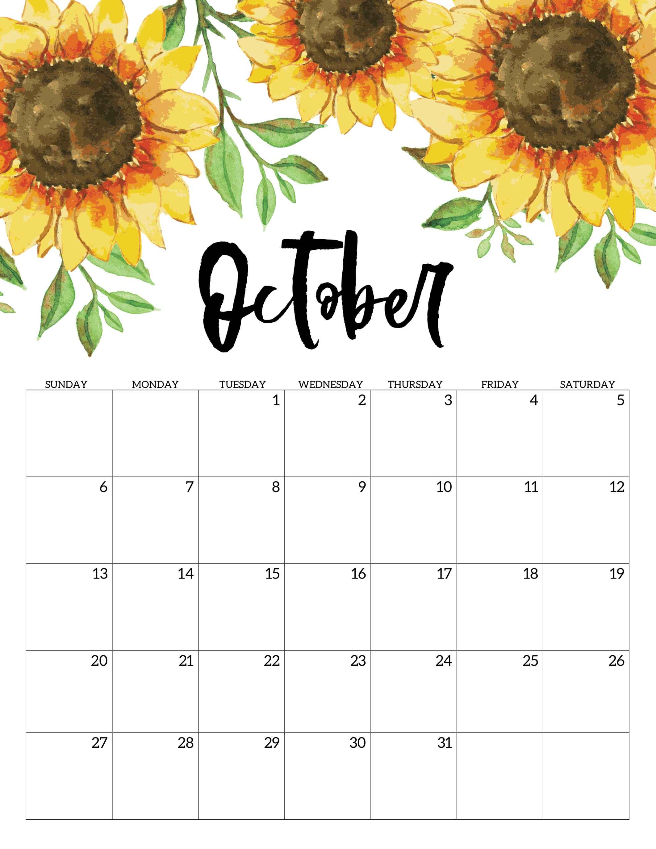 graphic regarding October Calendar Printable identified as Blank Oct Calendar 2019 Printable PDF