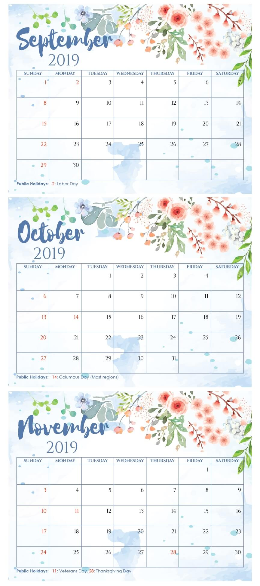 Calendar For September to November 2019
