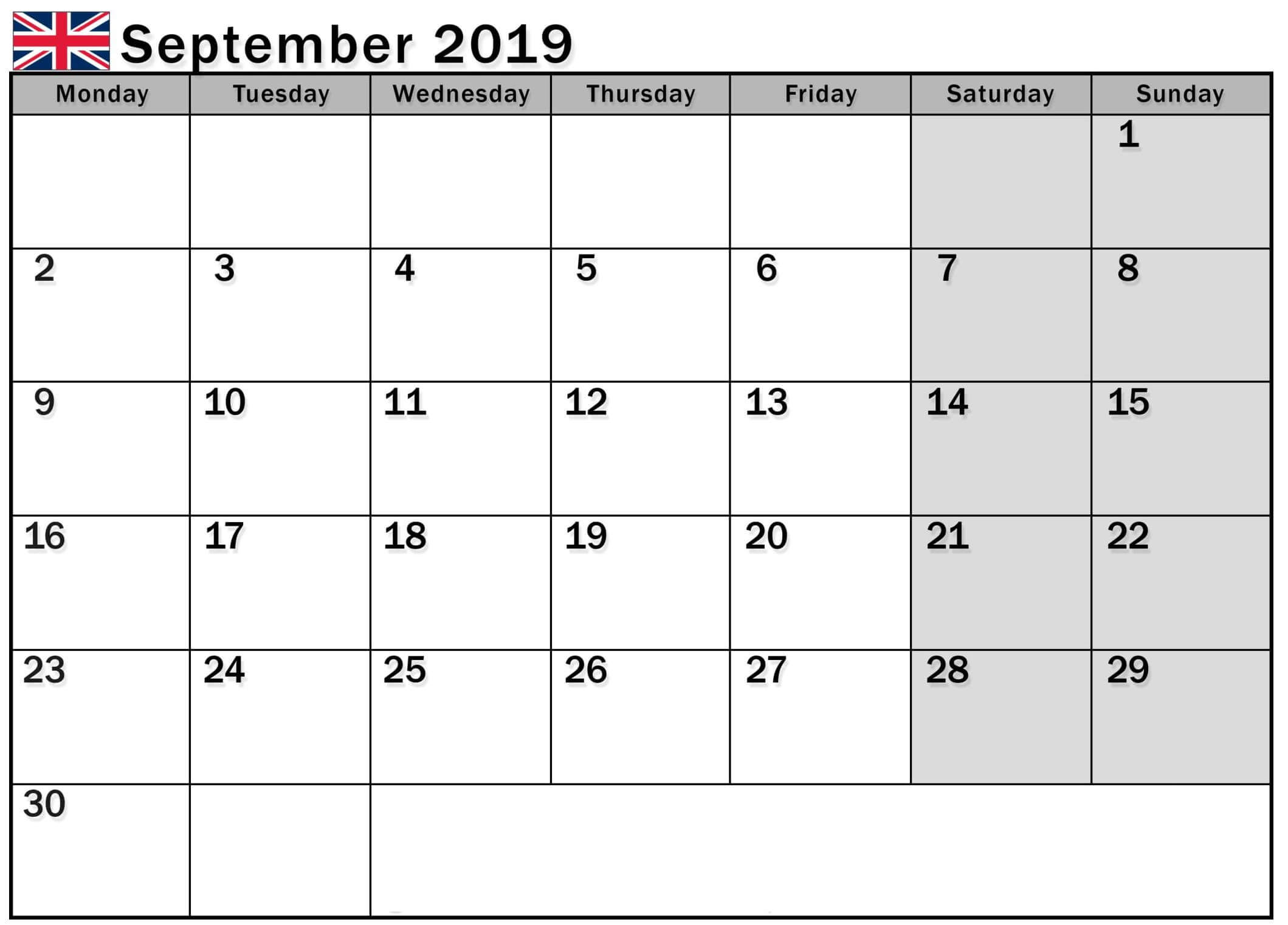 Calendar September 2019 UK with Flag