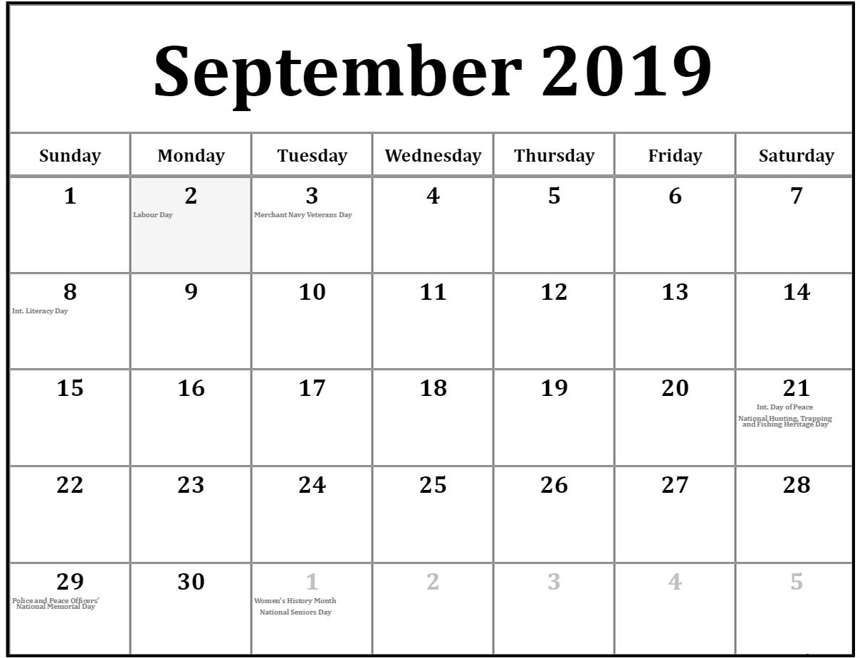 Canada Holidays 2019 September Calendar