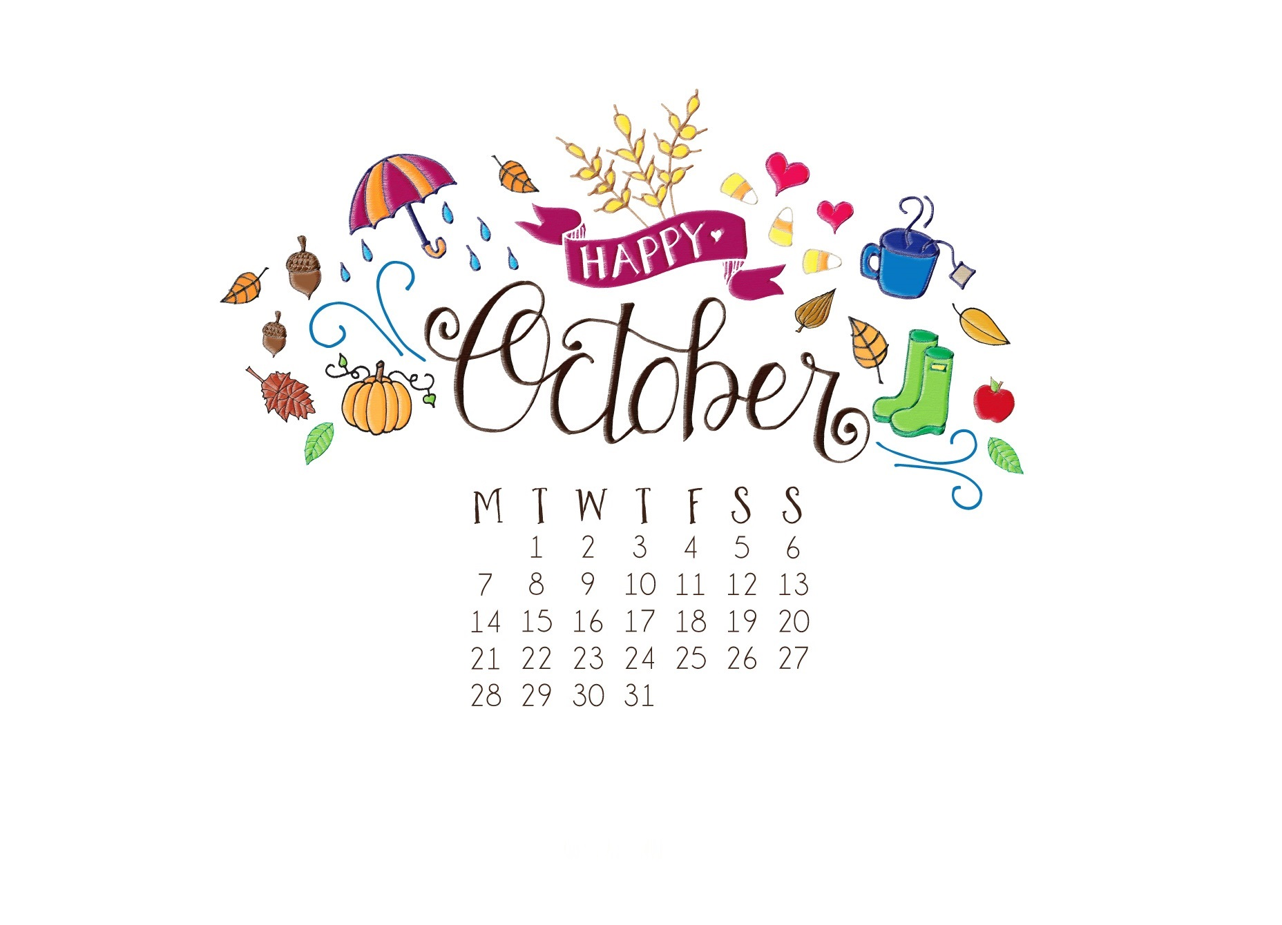Cute October 2019 Background Wallpaper