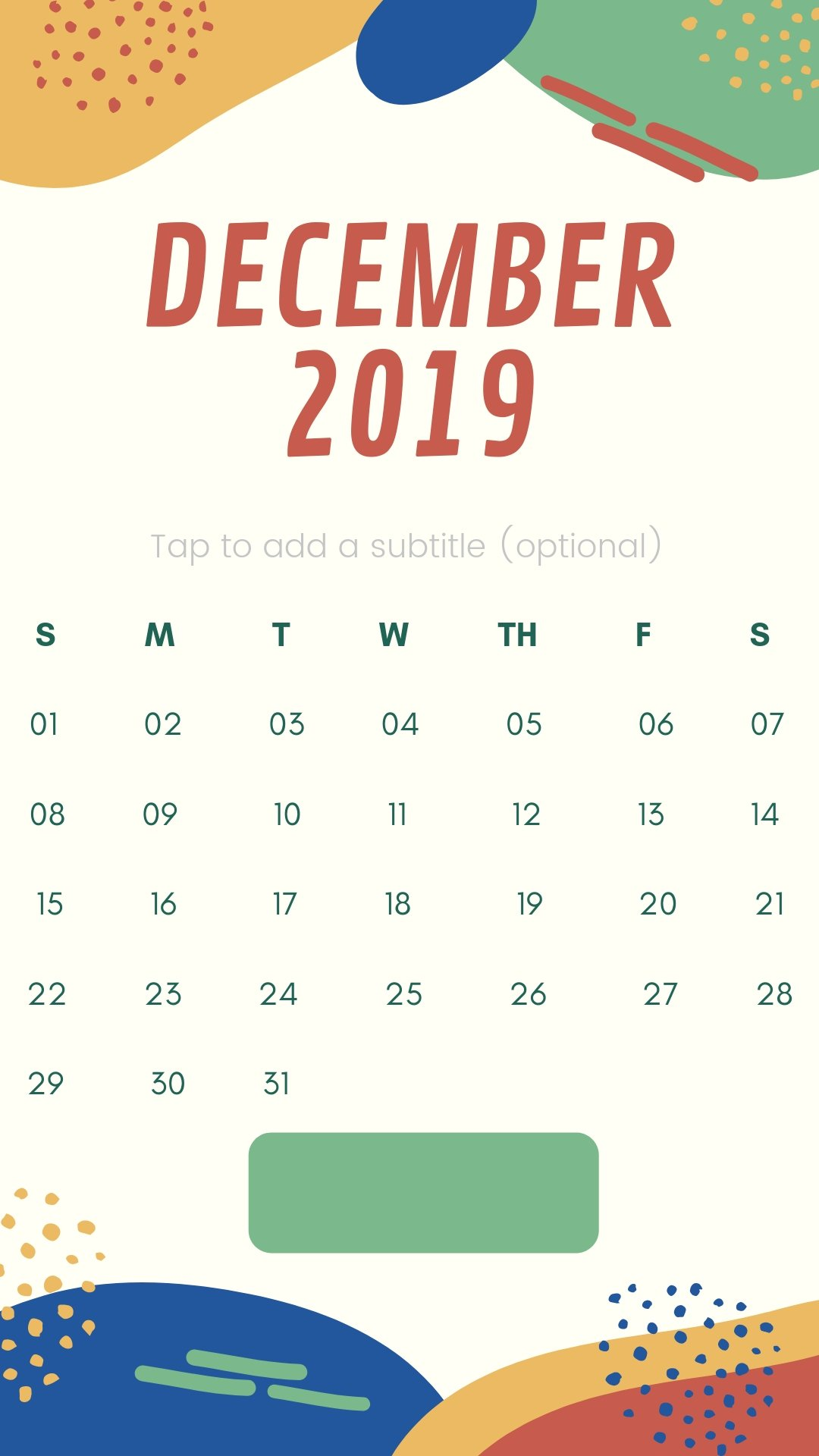 December 2019 Mobile Background Calendar