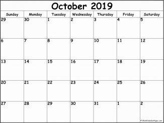 Free October 2019 Monthly Blank Calendar