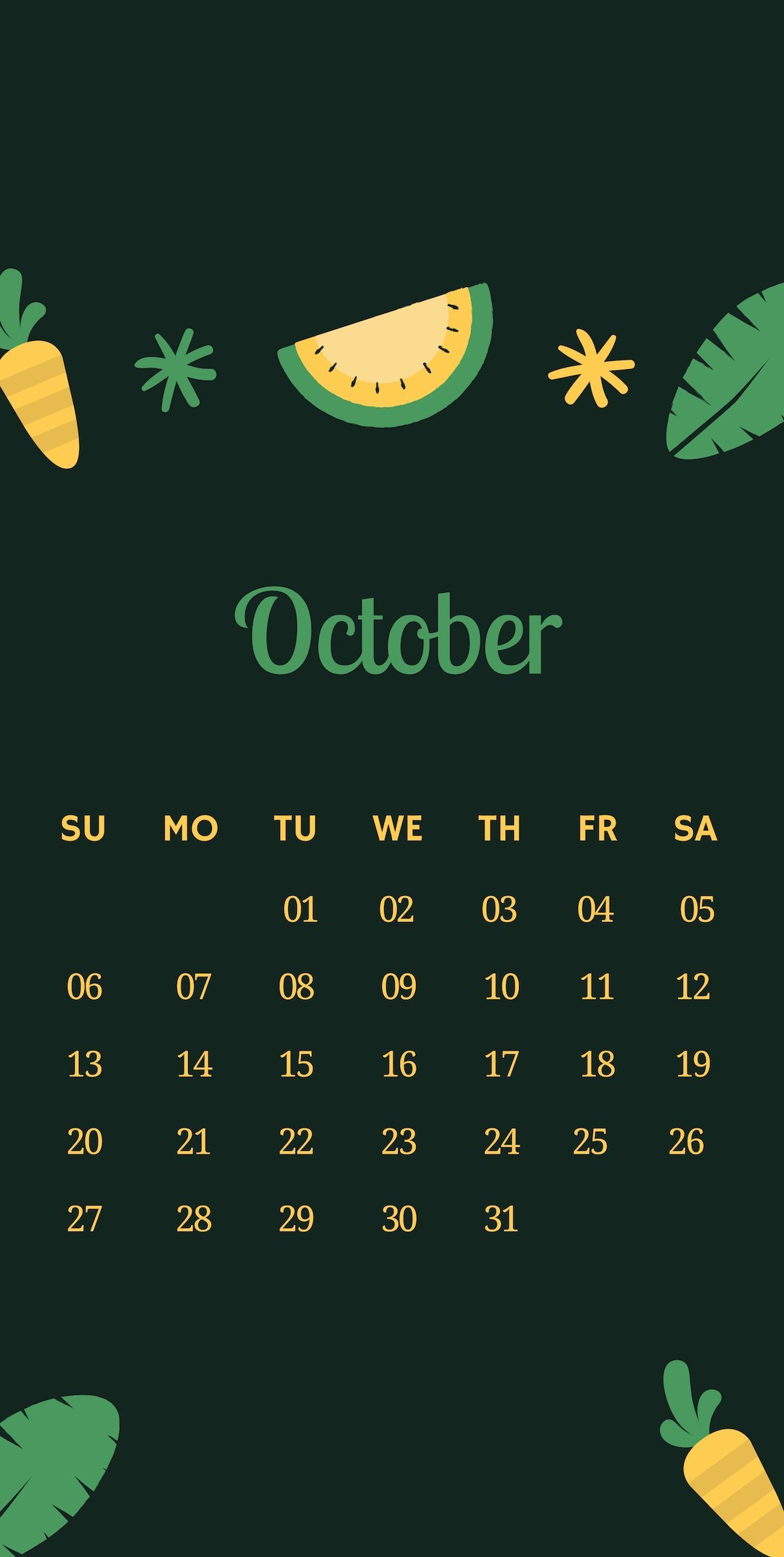 Free October 2019 iPhone Calendar Wallpaper