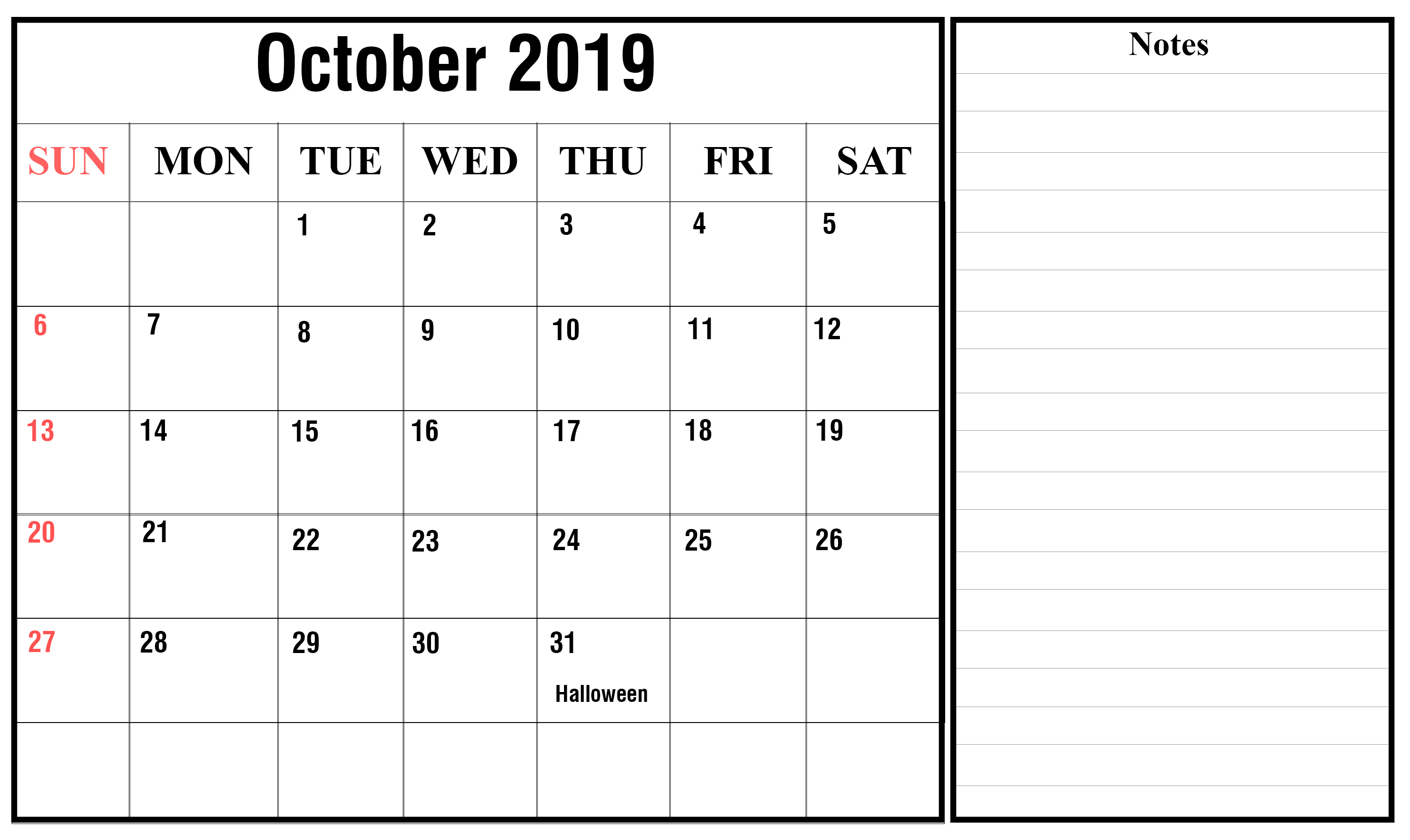 graphic regarding Printable Calendar for October referred to as Oct 2019 Printable Calendar with Editable Notes