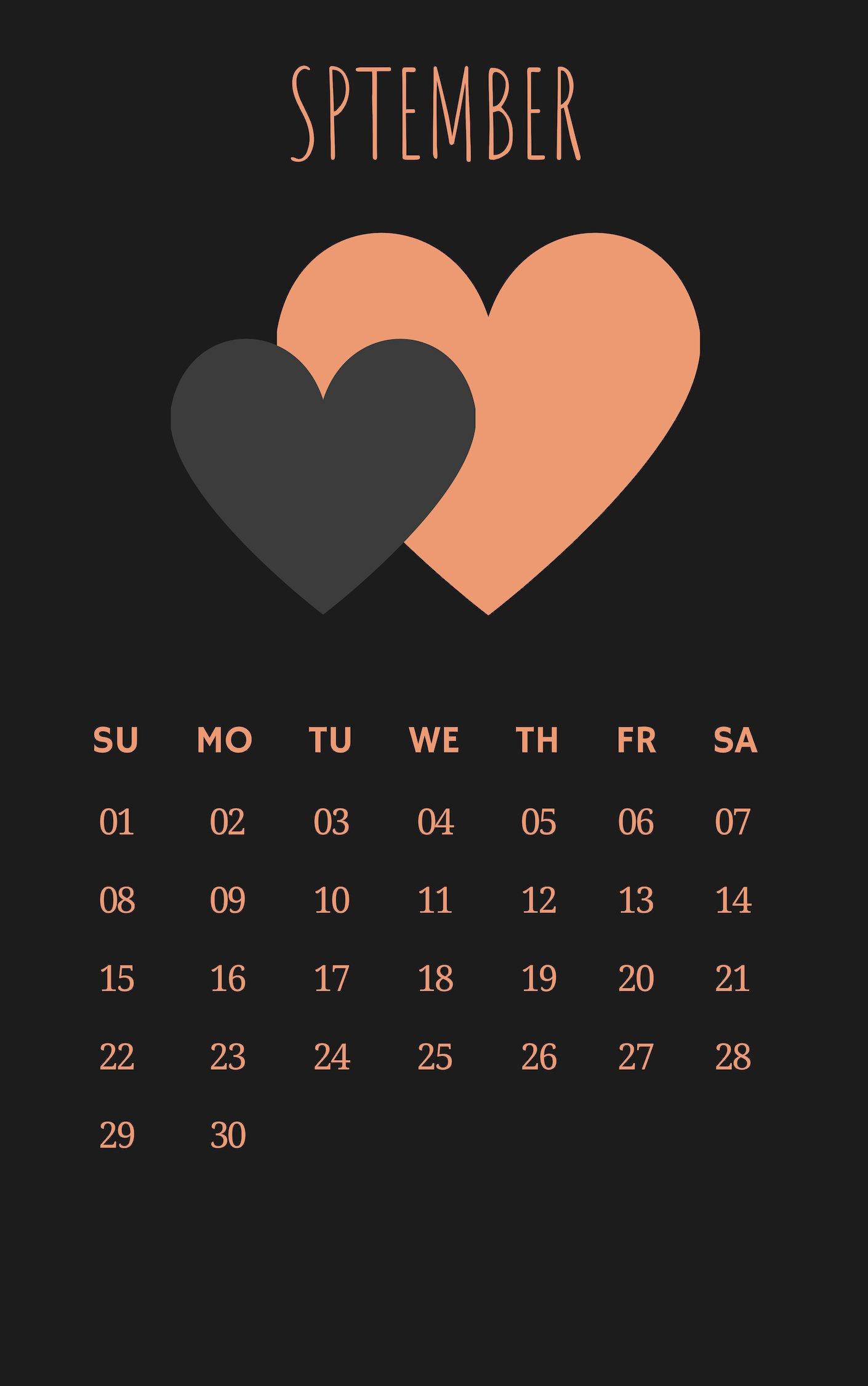 Free September 2019 iPhone Calendar
