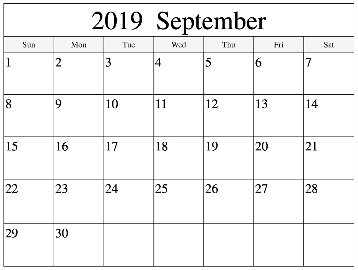 Holidays in September 2019 Calendar