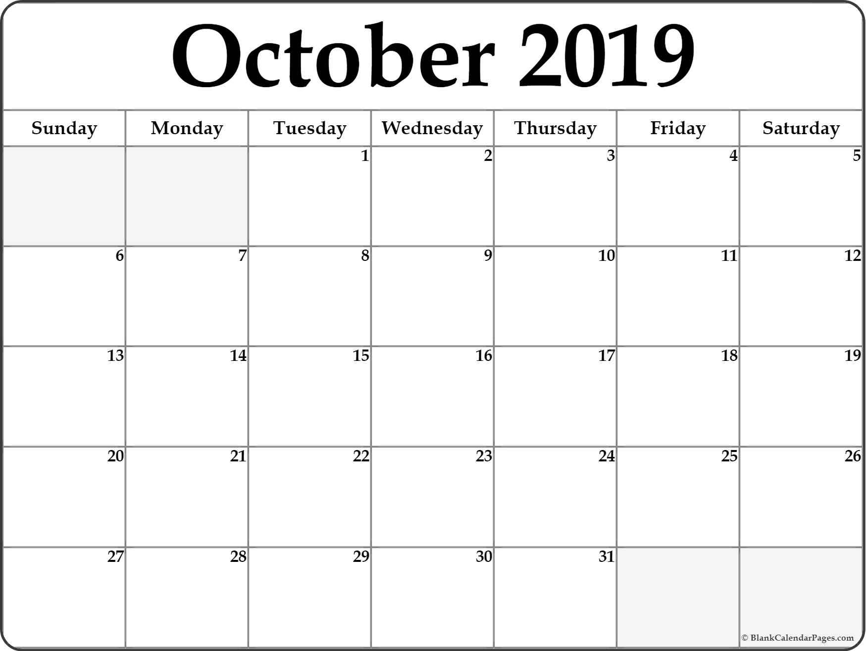 photo about Oct Calendar Printable Pdf called Blank Oct Calendar 2019 Printable PDF