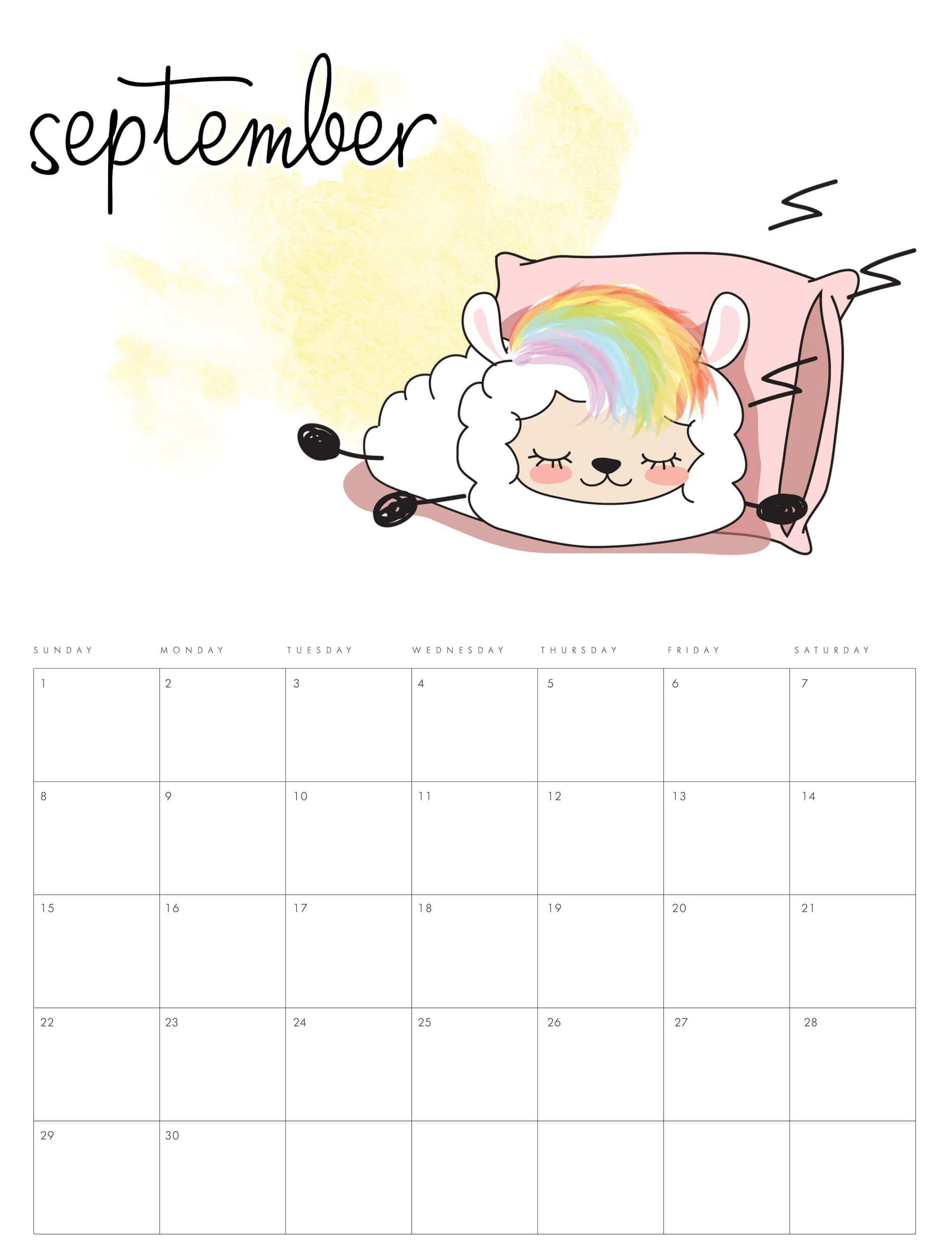 Monthly September Calendar 2019
