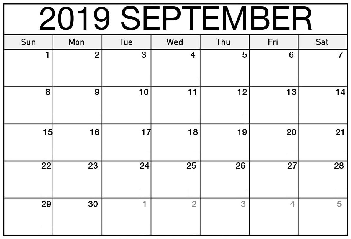 National September Holidays 2019 Calendar