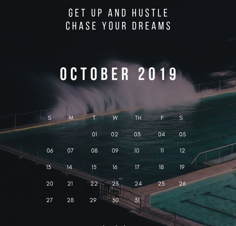 October 2019 Calendar With Saying