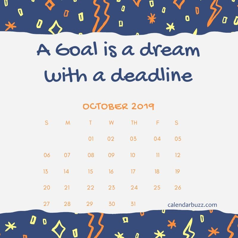 October 2019 Motivational Calendar