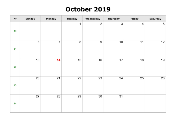 October 2019 Printable Calendar Word