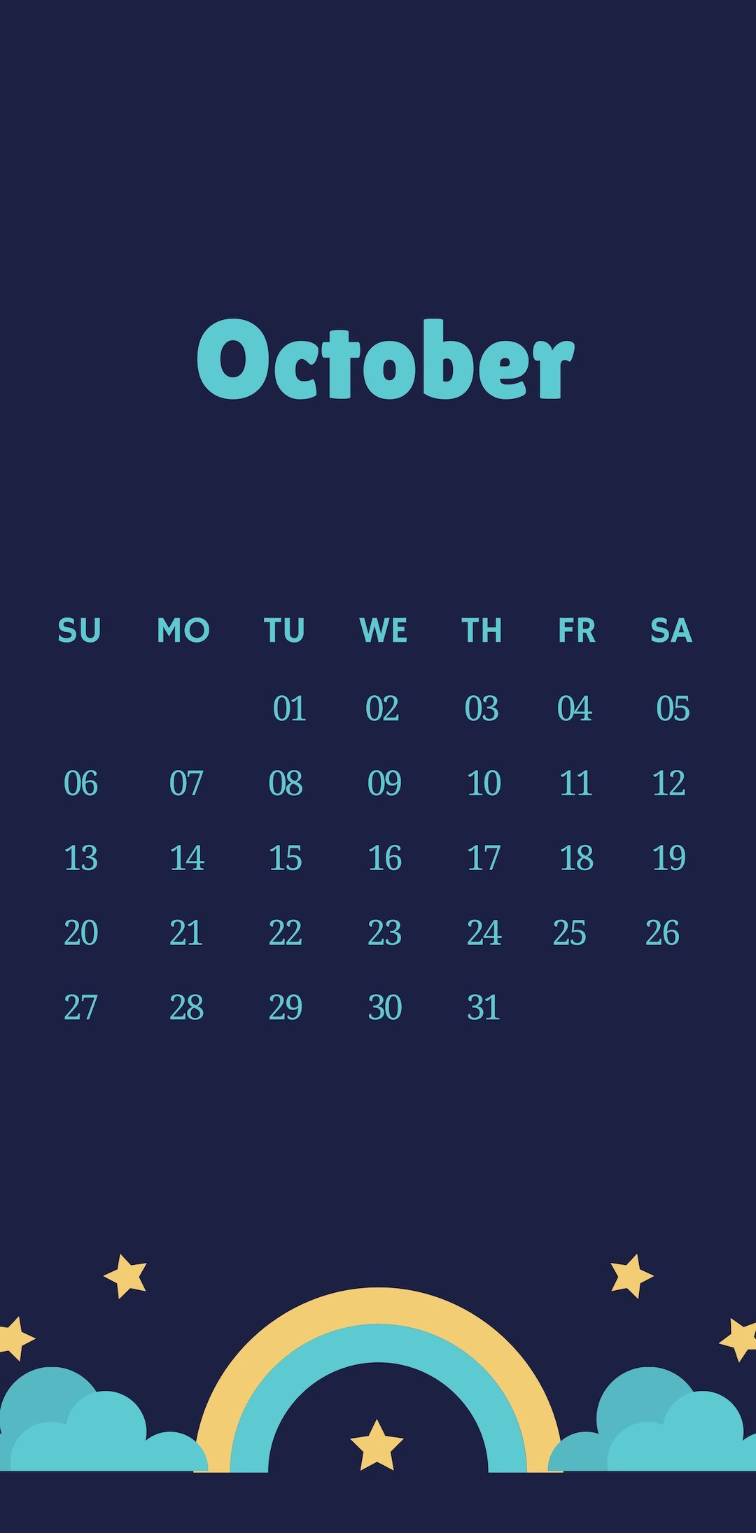 October 2019 iPhone Cute Calendar Wallpaper