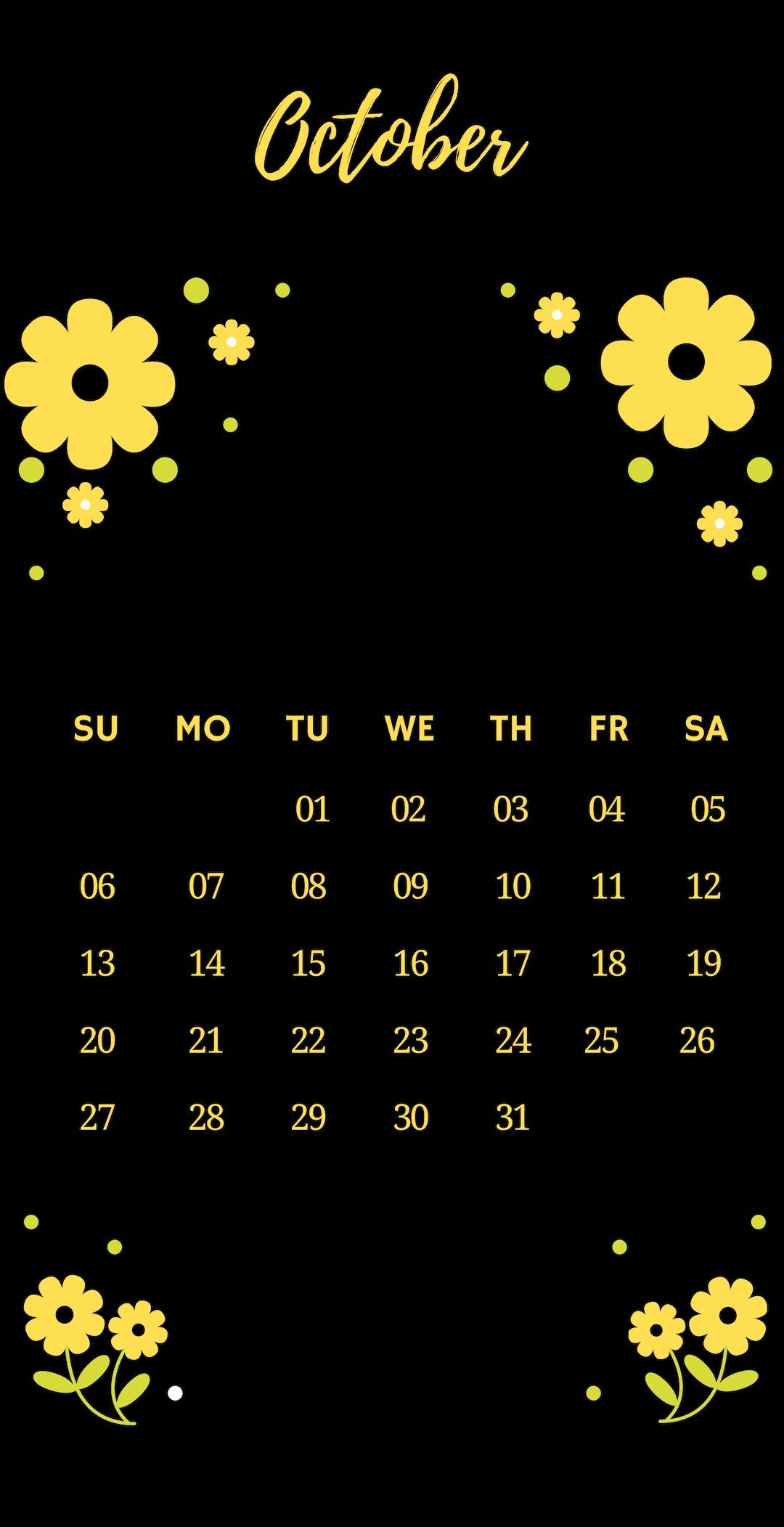 October 2019 iPhone Flower Calendar Wallpaper