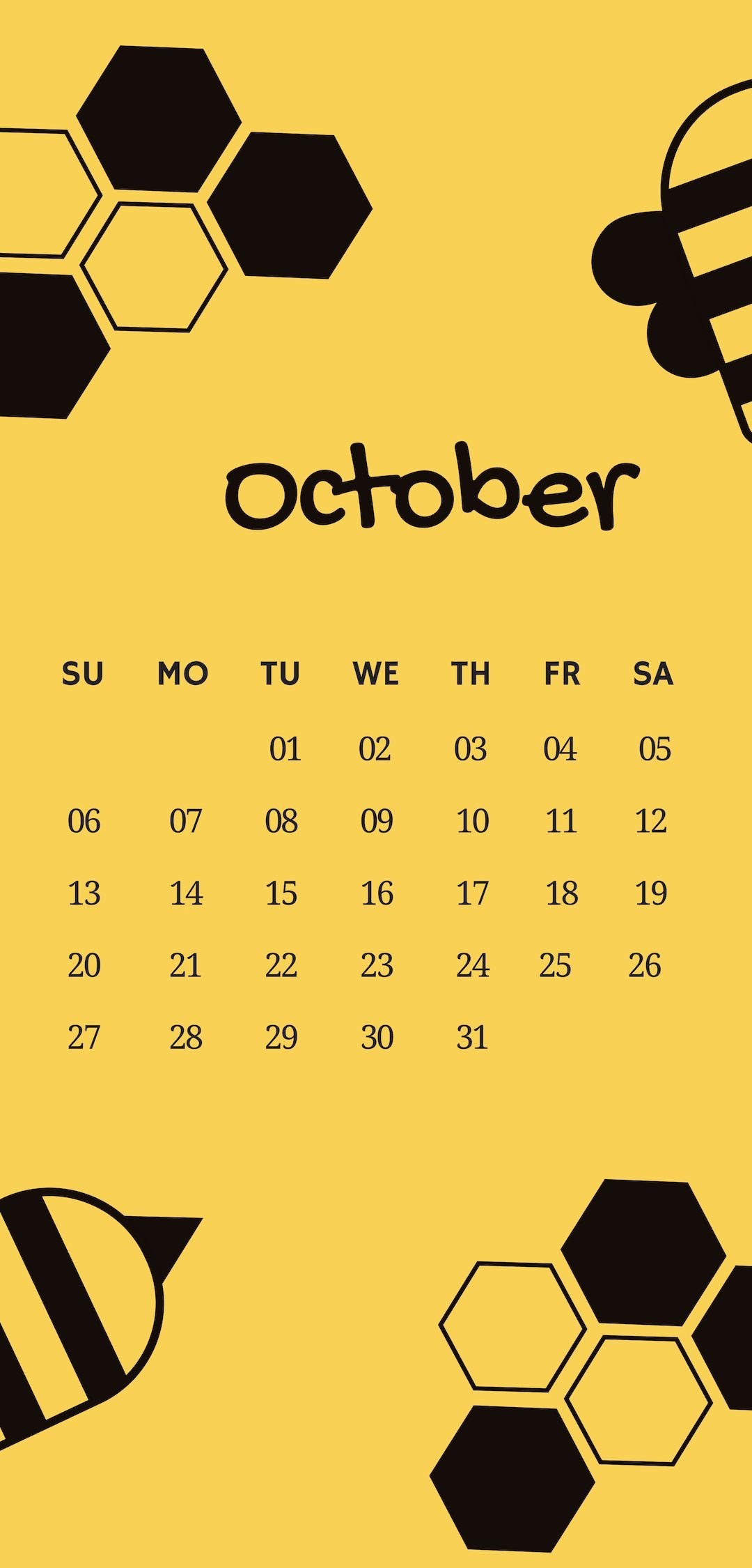 October 2019 iPhone HD Calendar