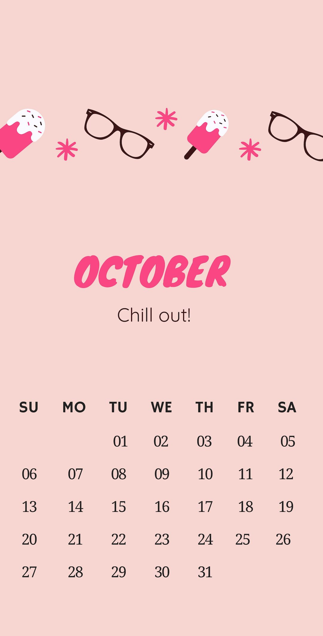 October 2019 iPhone Pink Calendar Wallpaper