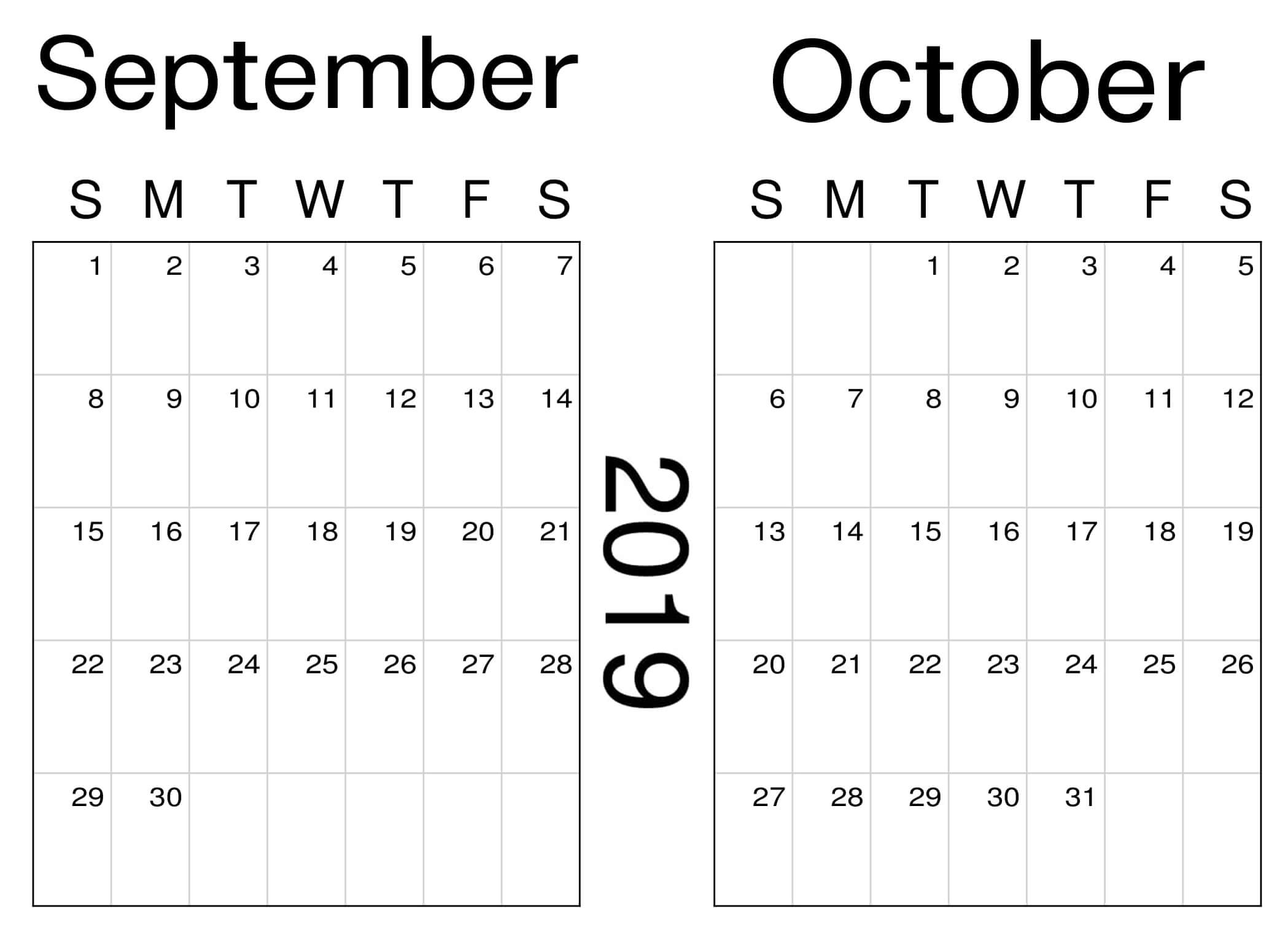 Online September and October 2019 Calendar