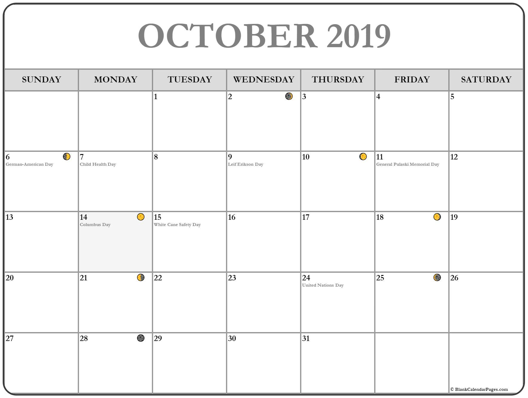 Printable Moon Calendar October 2019