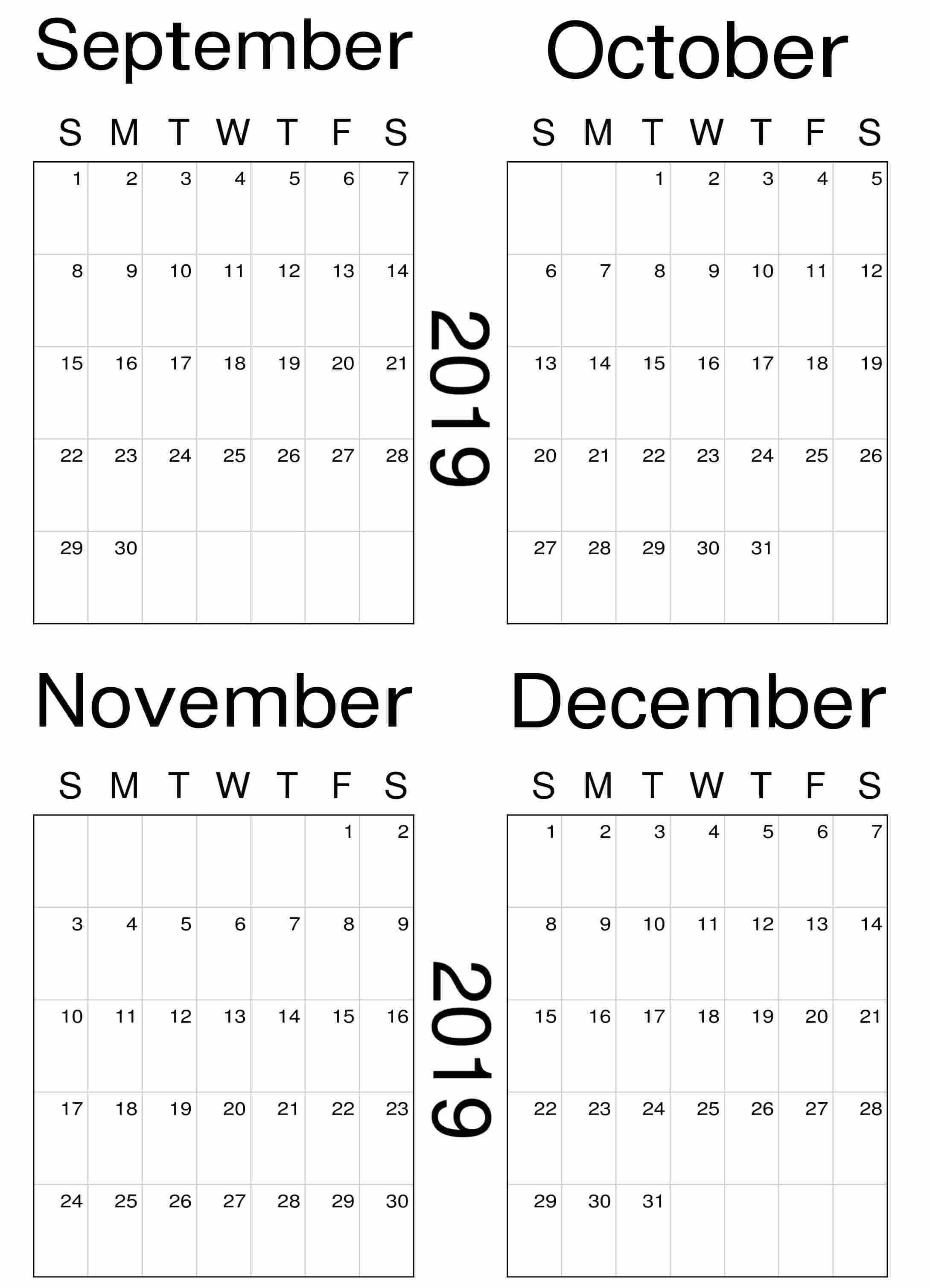 image regarding November and December Calendar Printable named Blank September Oct November 2019 Calendar Template