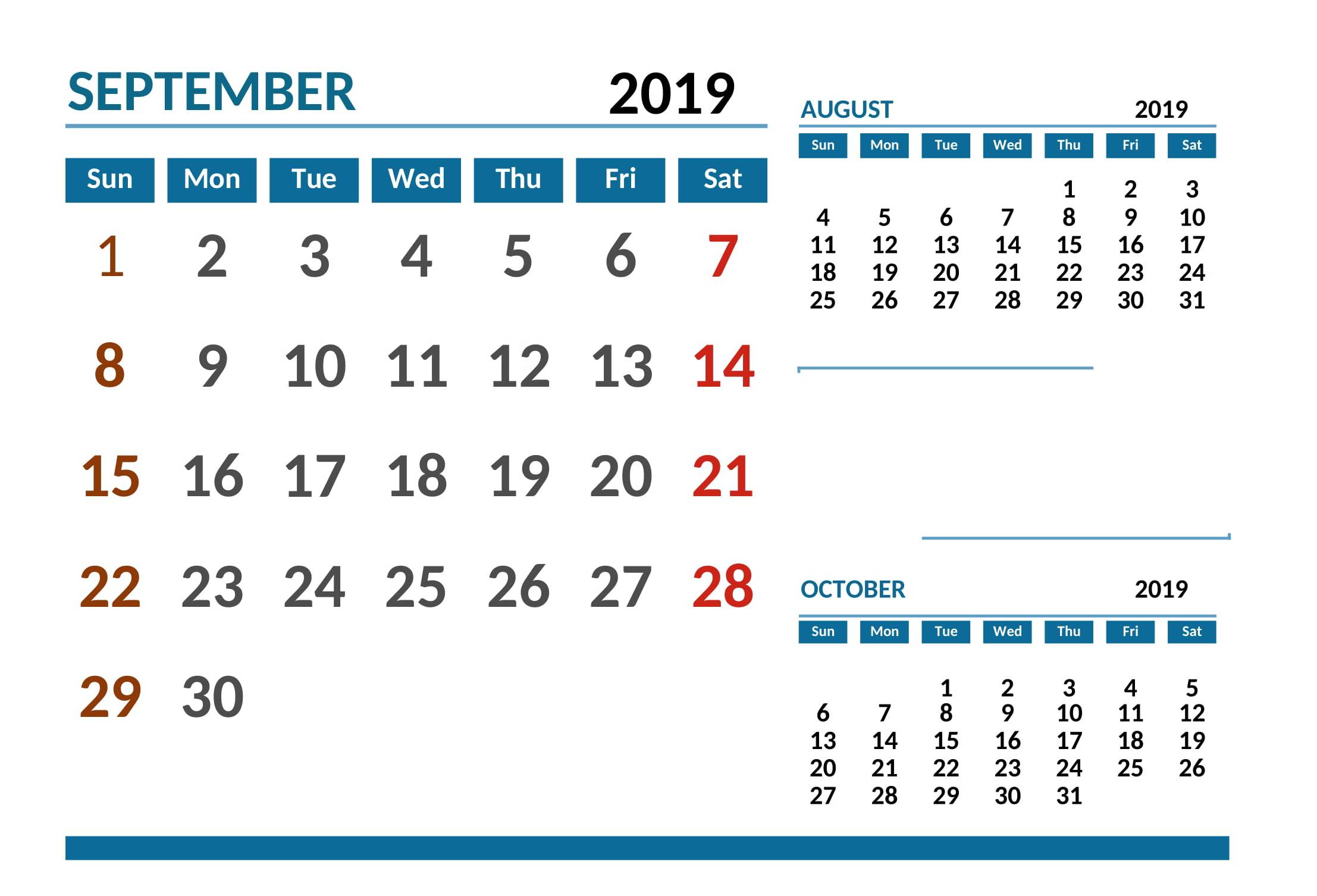 September 2019 Calendar Australia National Holidays