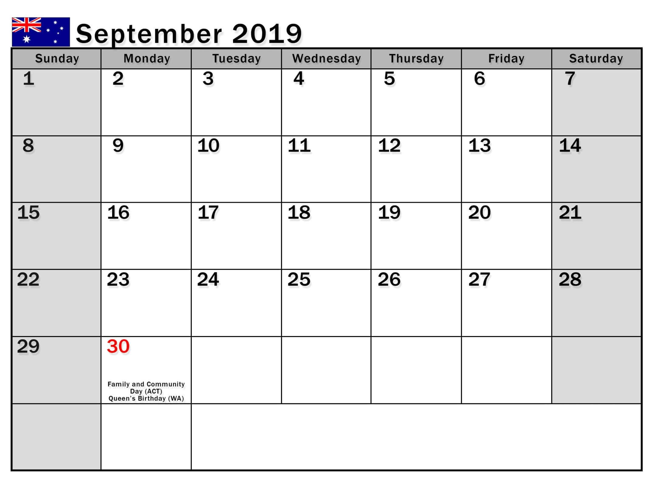 September 2019 Calendar Australia School Holidays