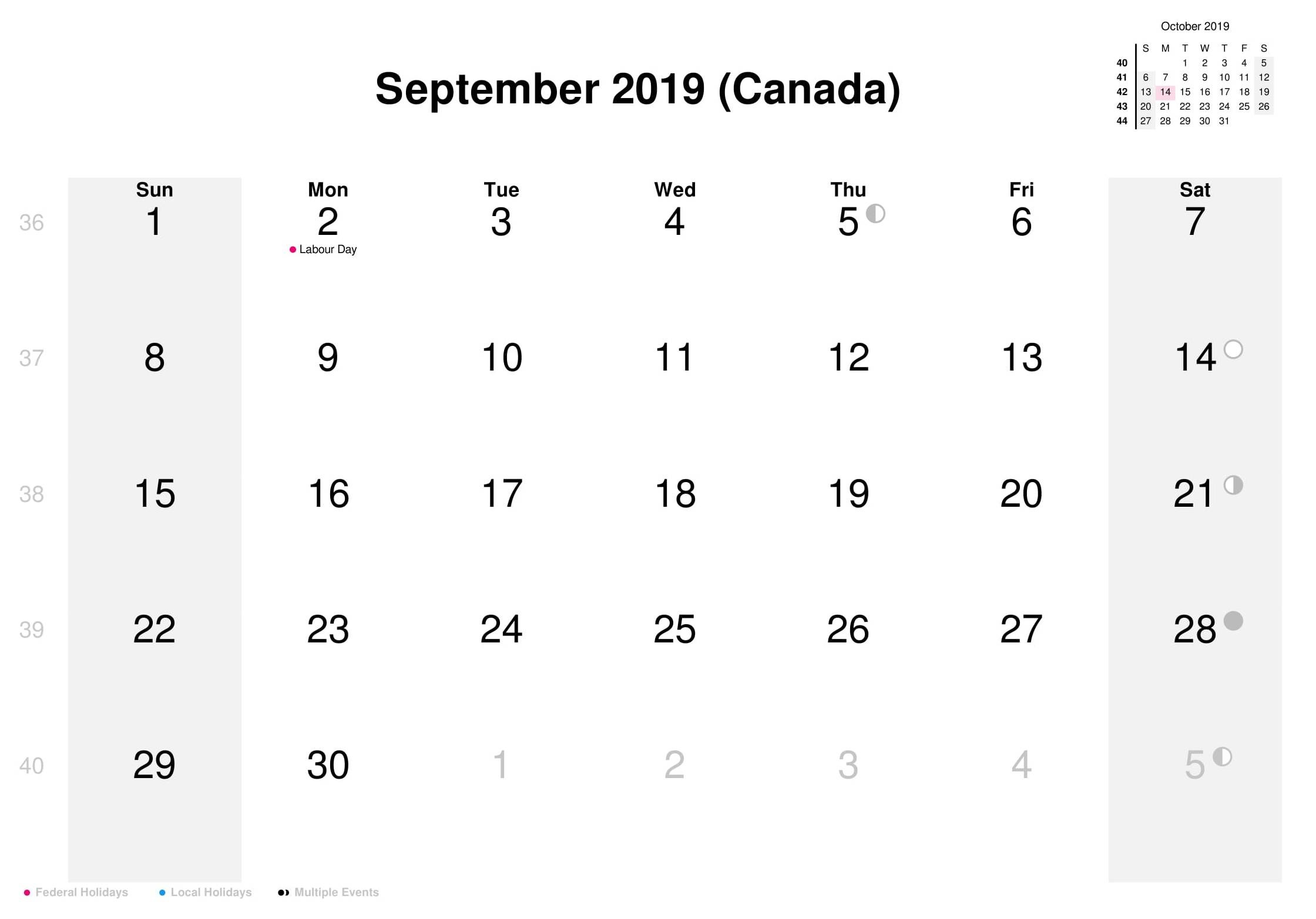 September 2019 Calendar Canada Bank Holidays