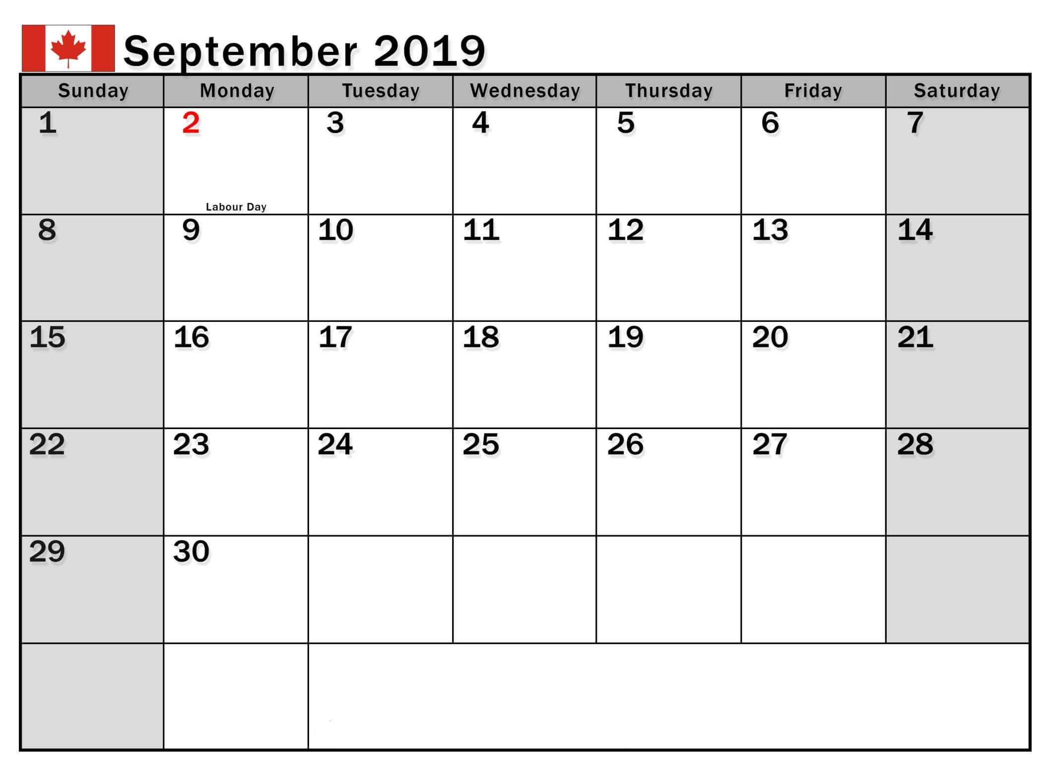 September 2019 Calendar Canada School Holidays