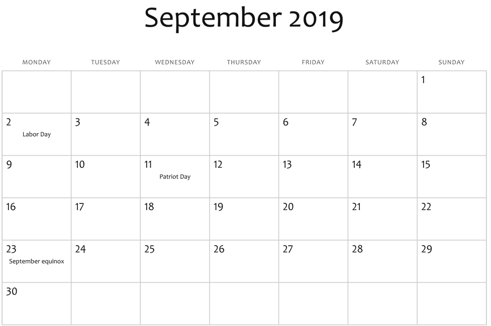 September 2019 Calendar UK Public Holidays