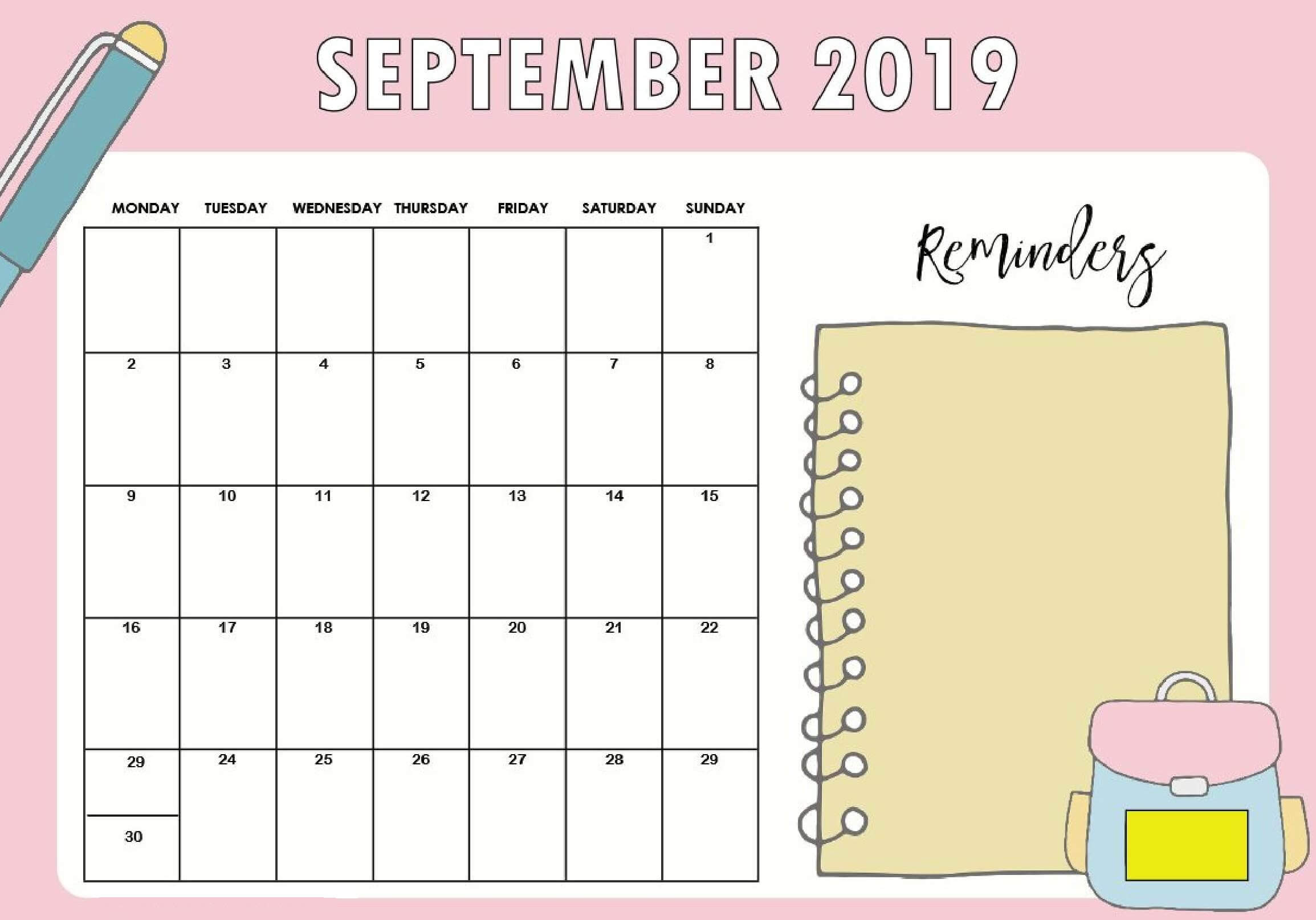 September 2019 Calendar UK School Holidays