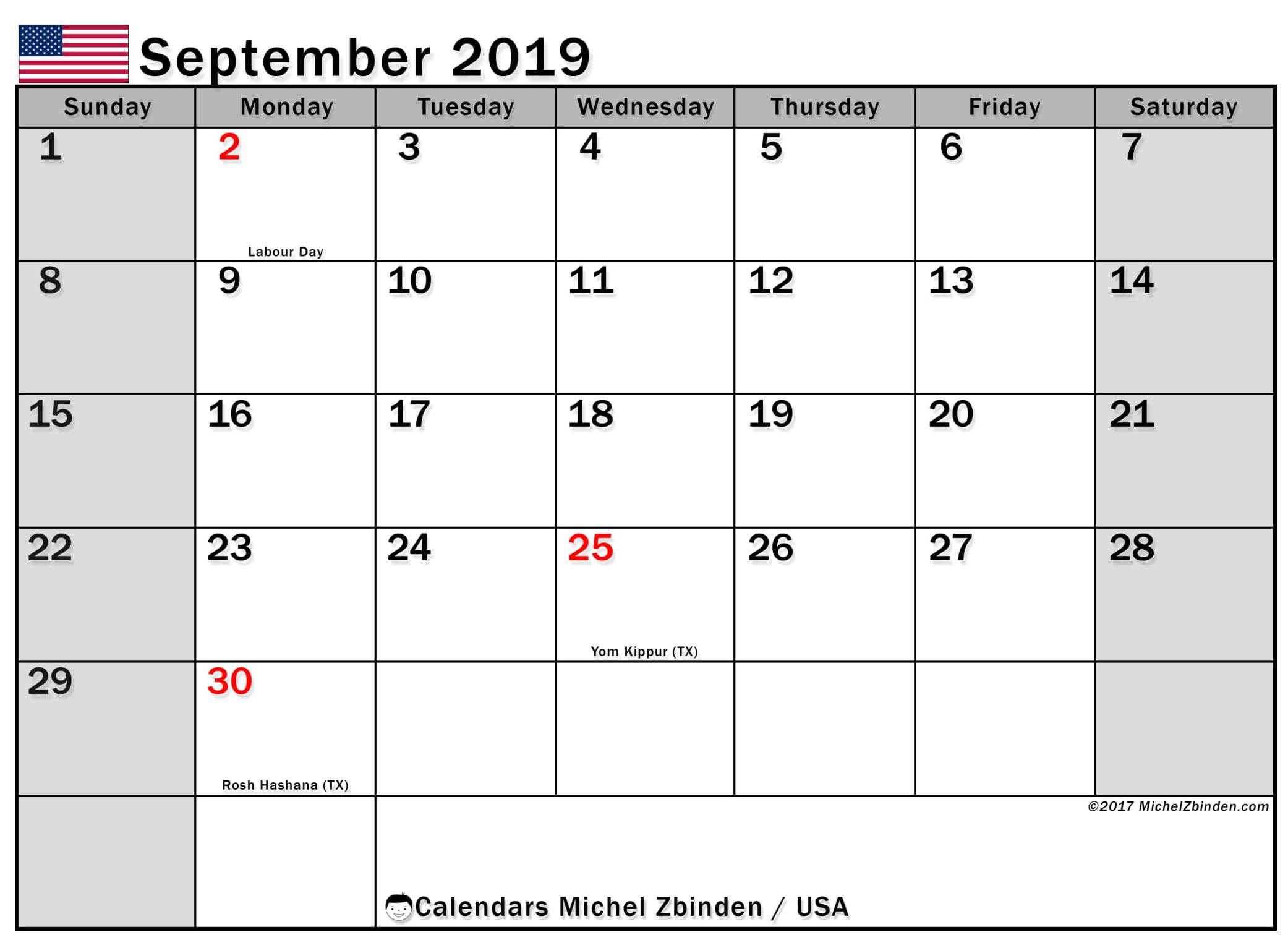 September 2019 Calendar USA Flag