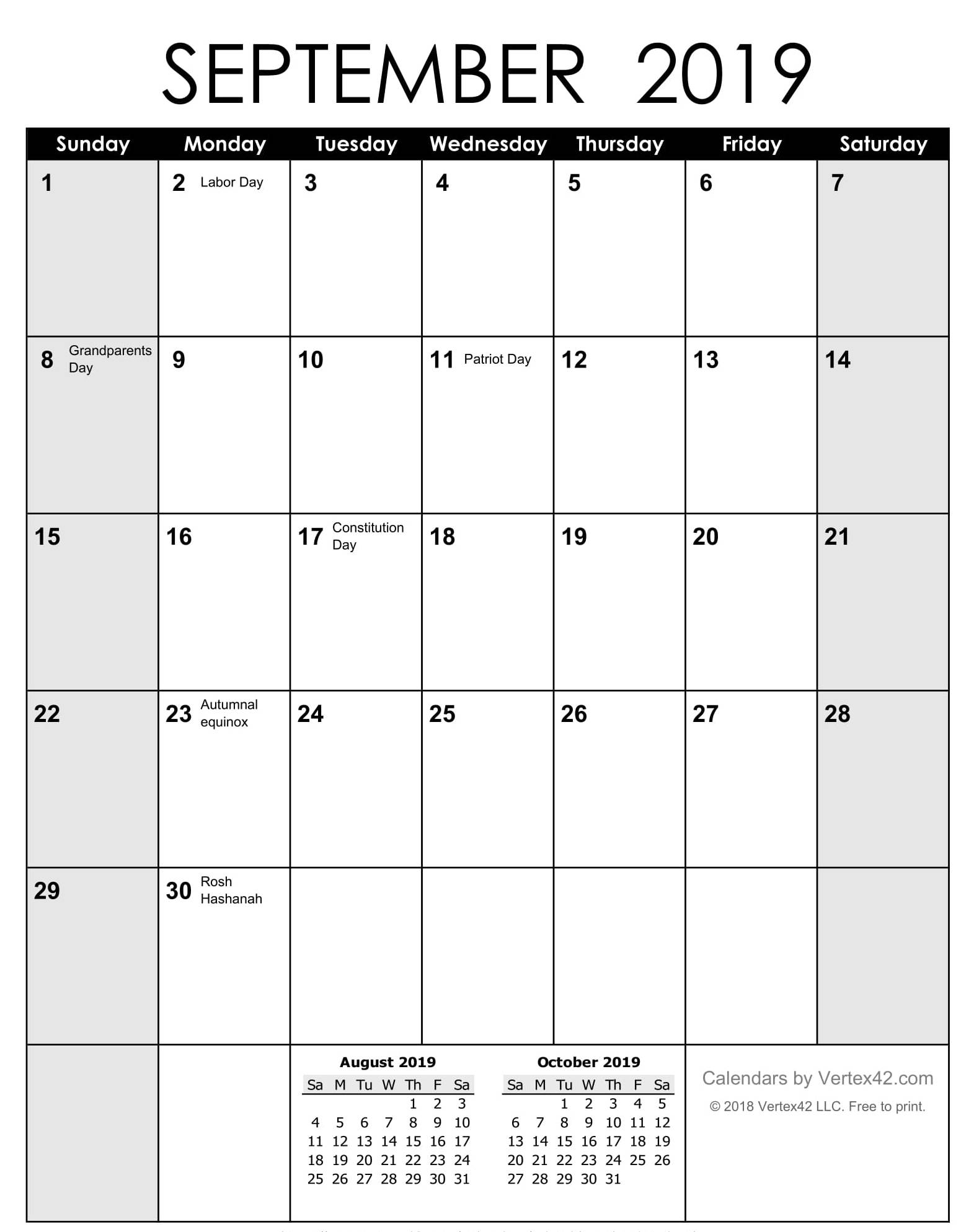 September 2019 Calendar USA School Holidays