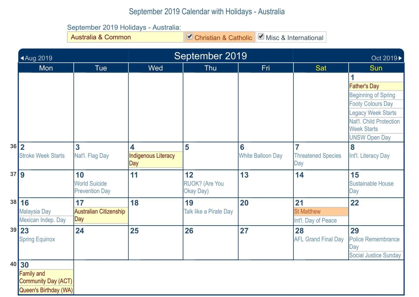 September 2019 Calendar With Australia Public Holidays