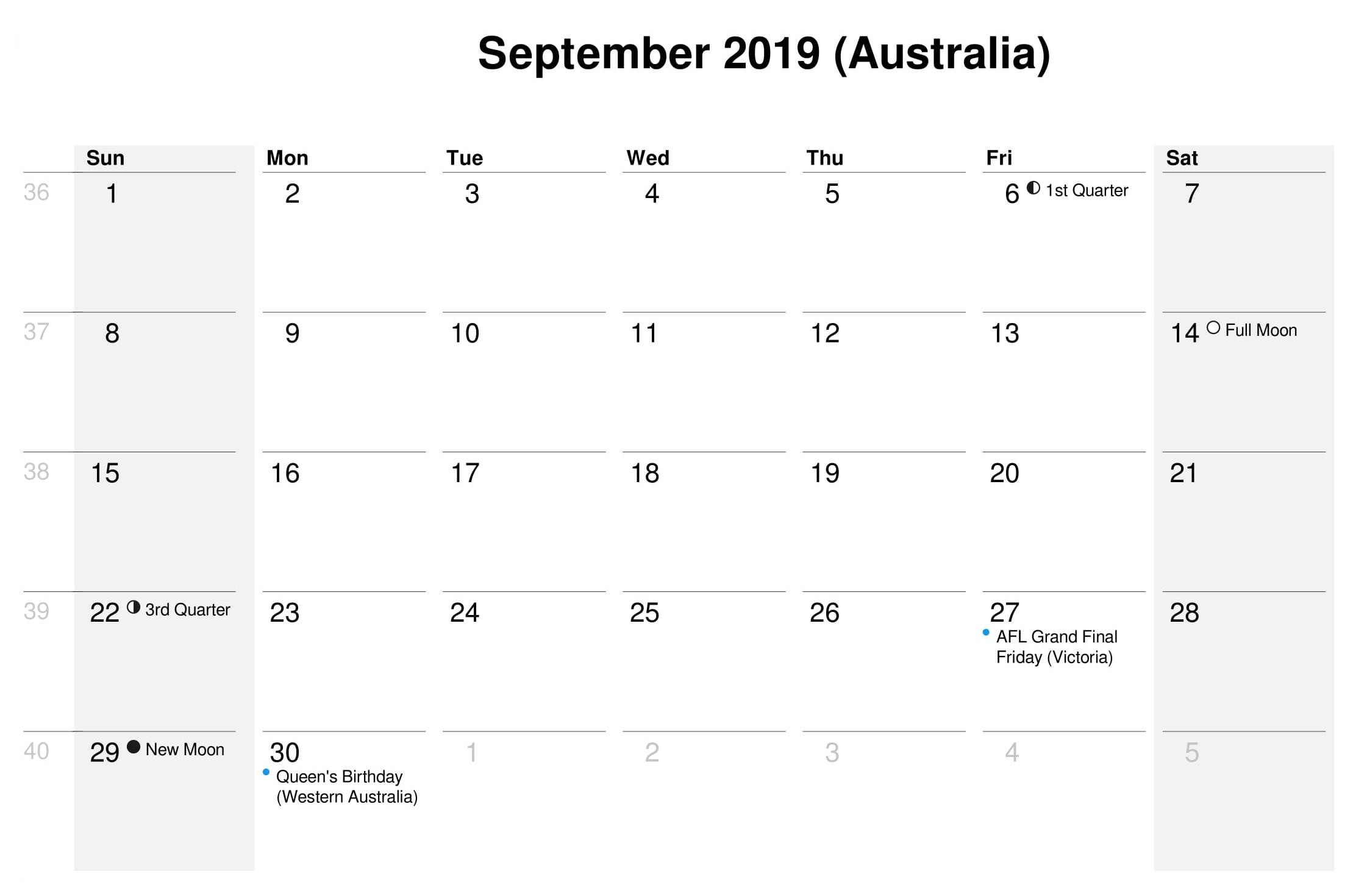 September 2019 Calendar with Holidays Australia