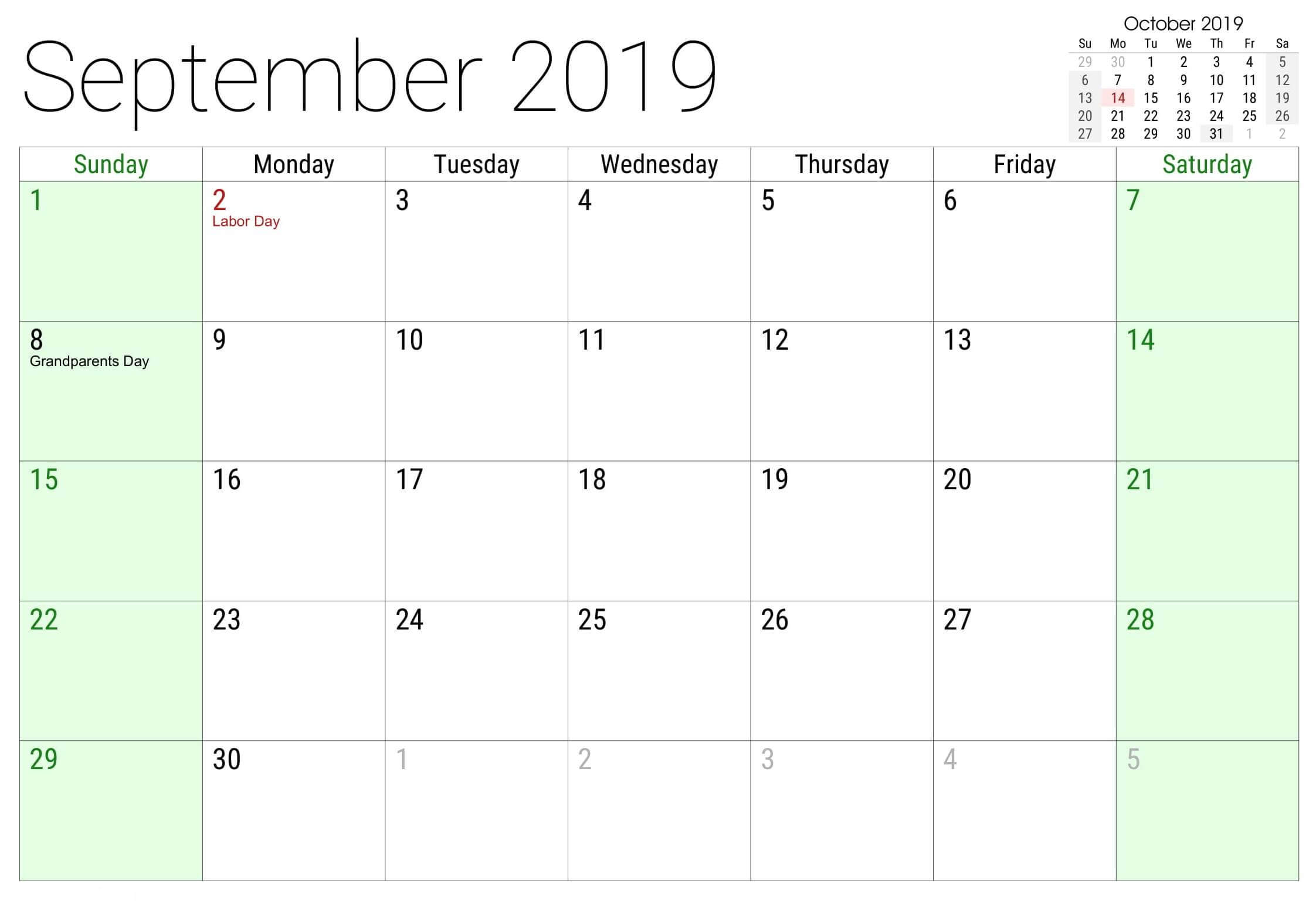 September 2019 Calendar with Holidays Printable