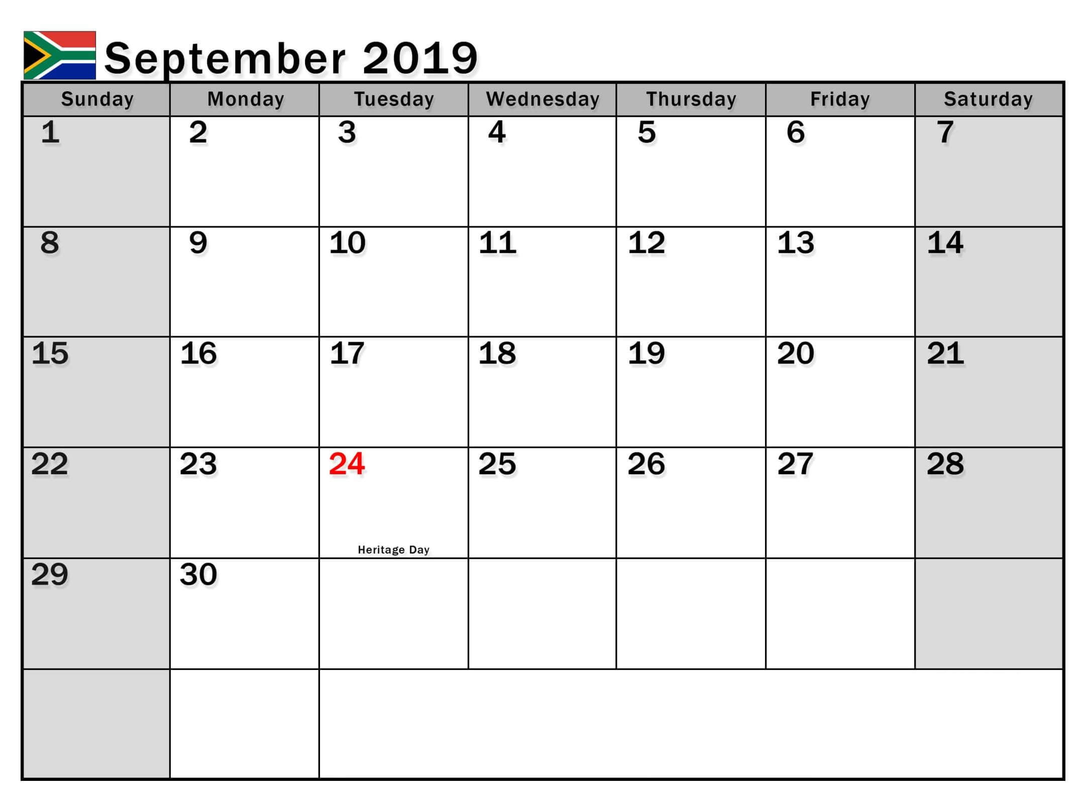 September 2019 Calendar with Holidays South Africa