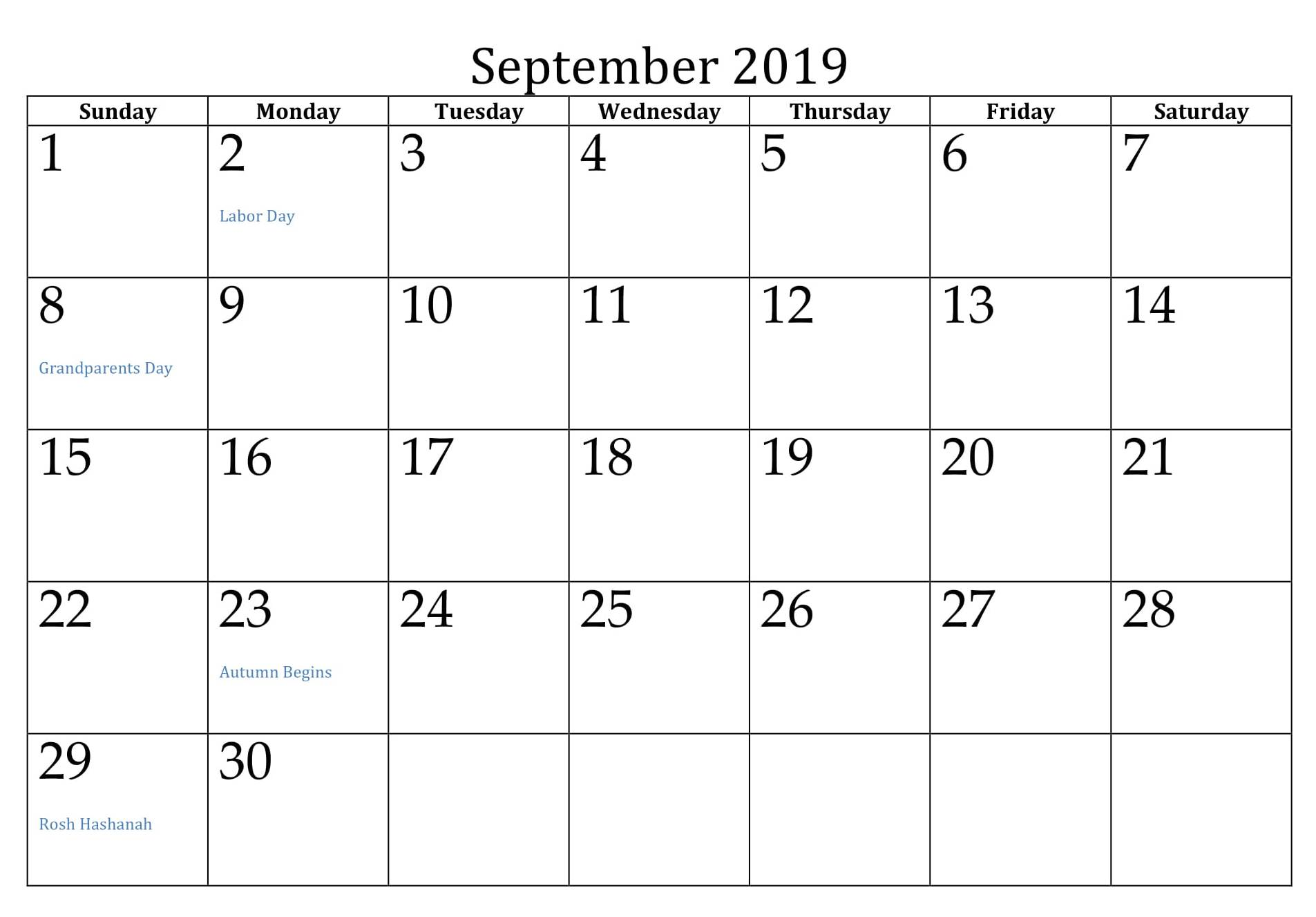September 2019 Calendar with Holidays USA