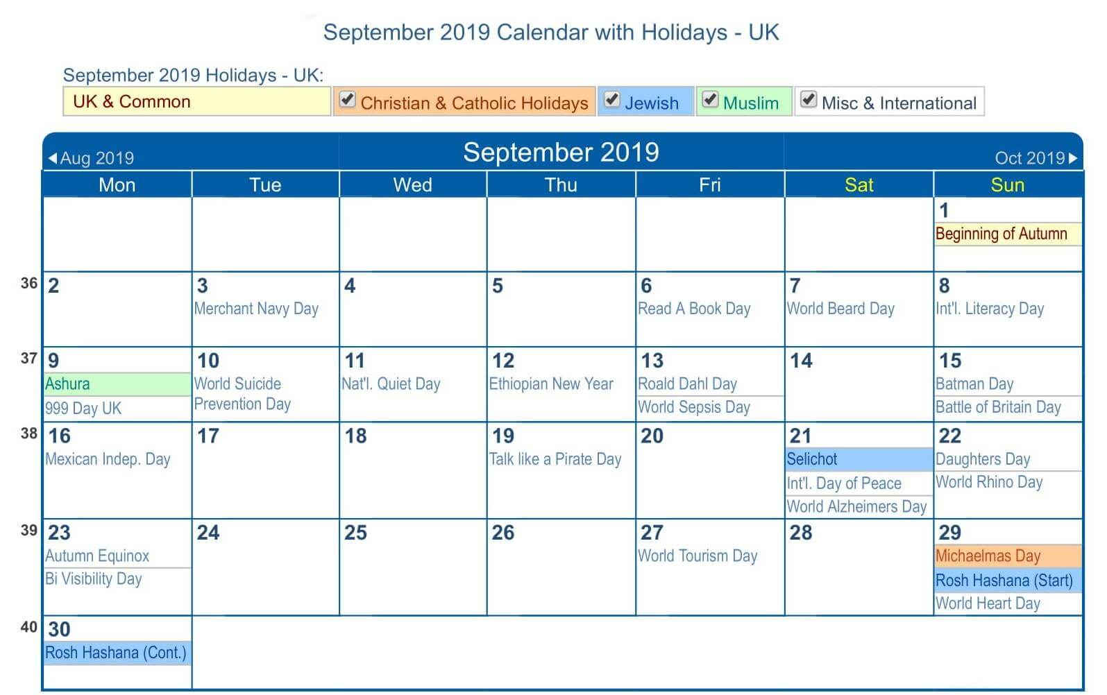 September 2019 Calendar with UK Holidays