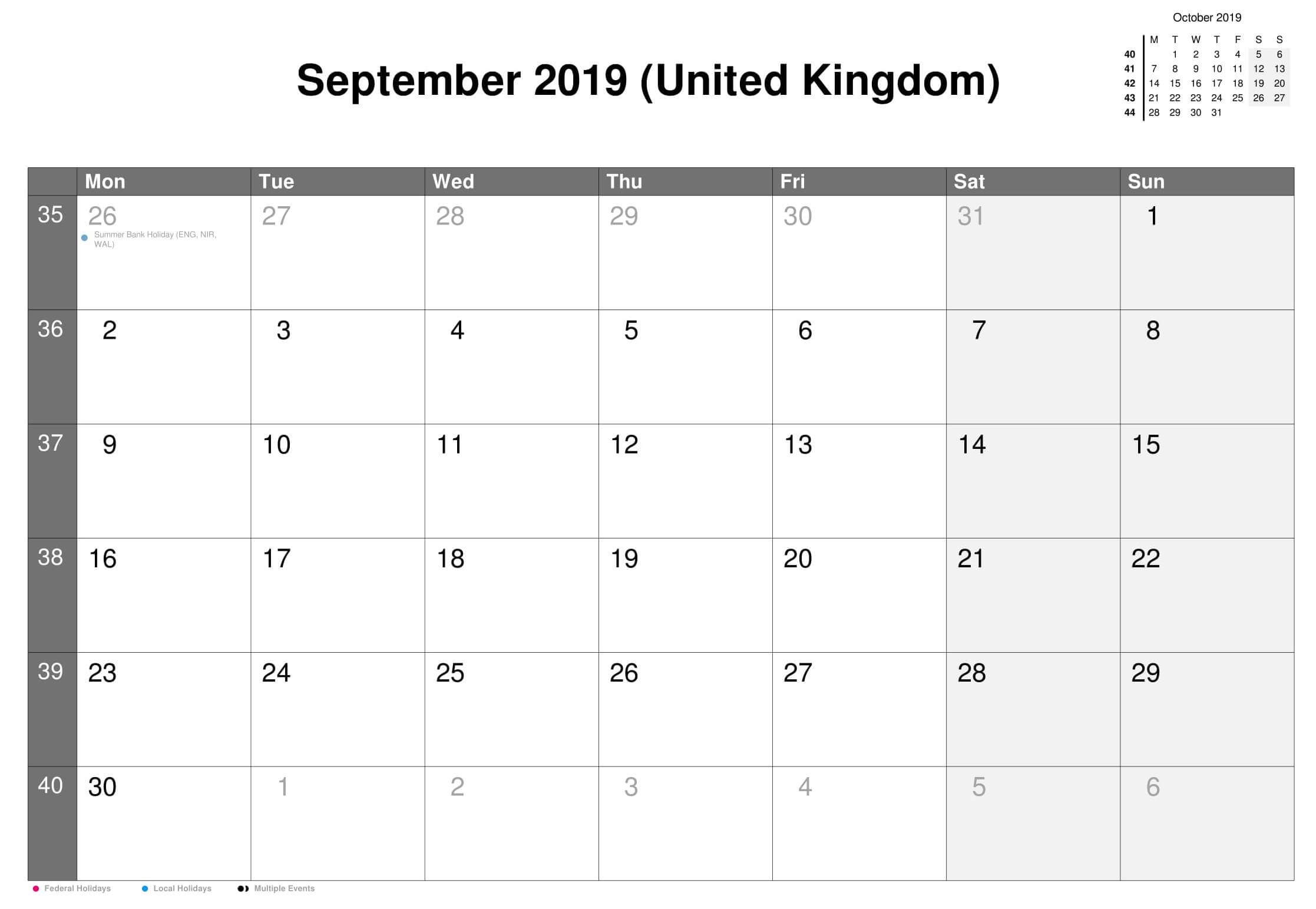 September 2019 UK Calendar With Holidays