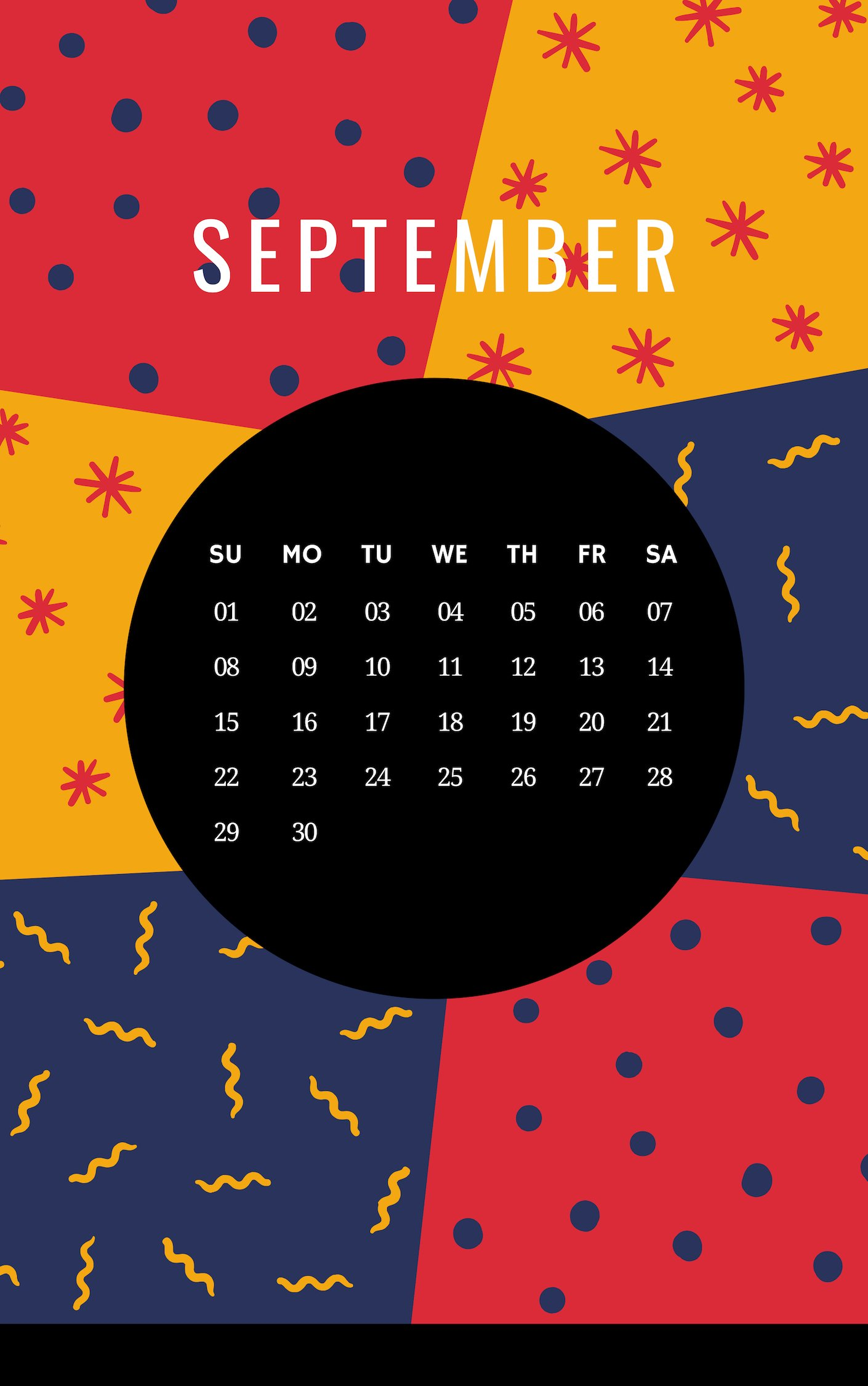 September 2019 iPhone Home screen Calendar