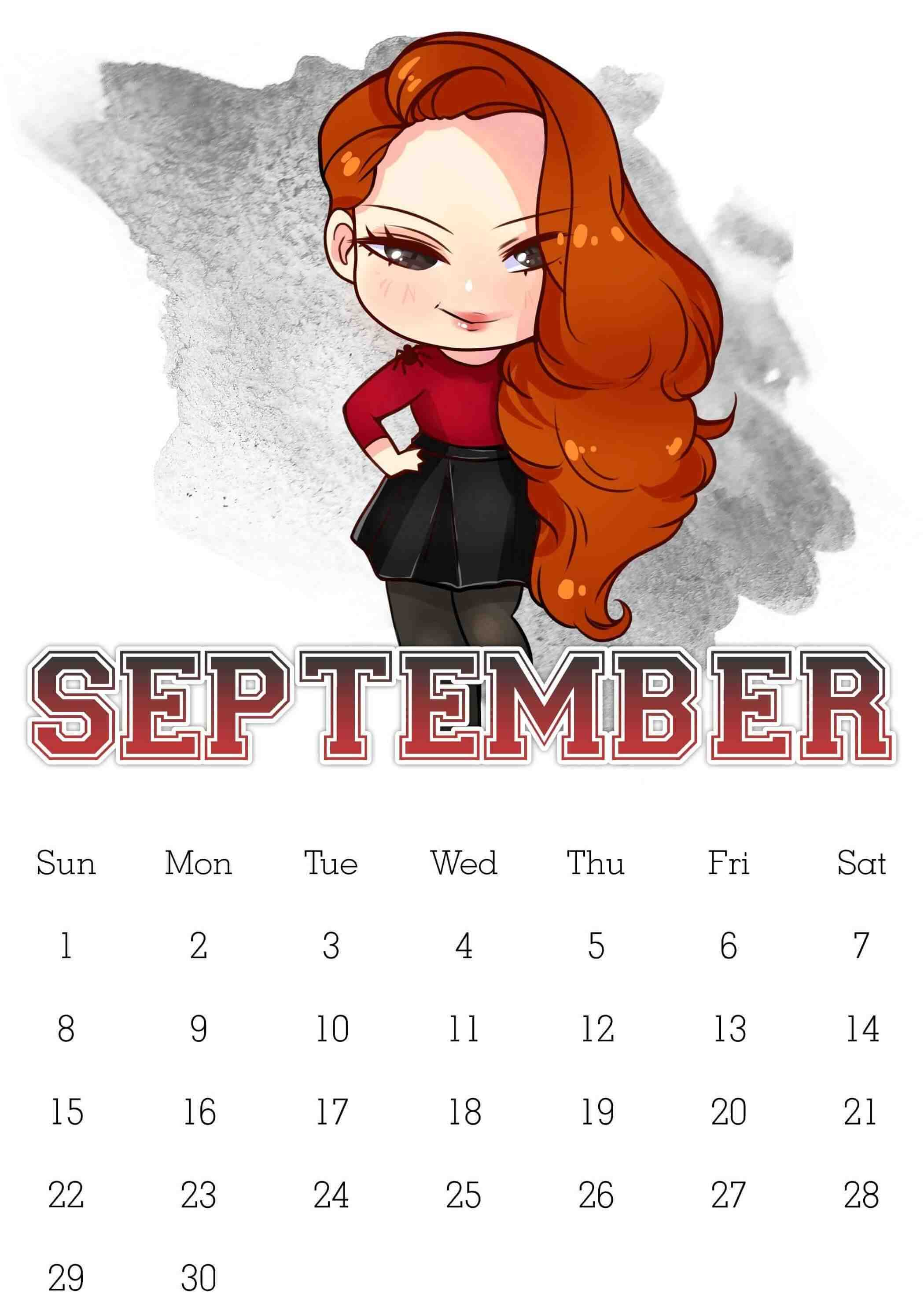 September Calendar 2019 for Kids