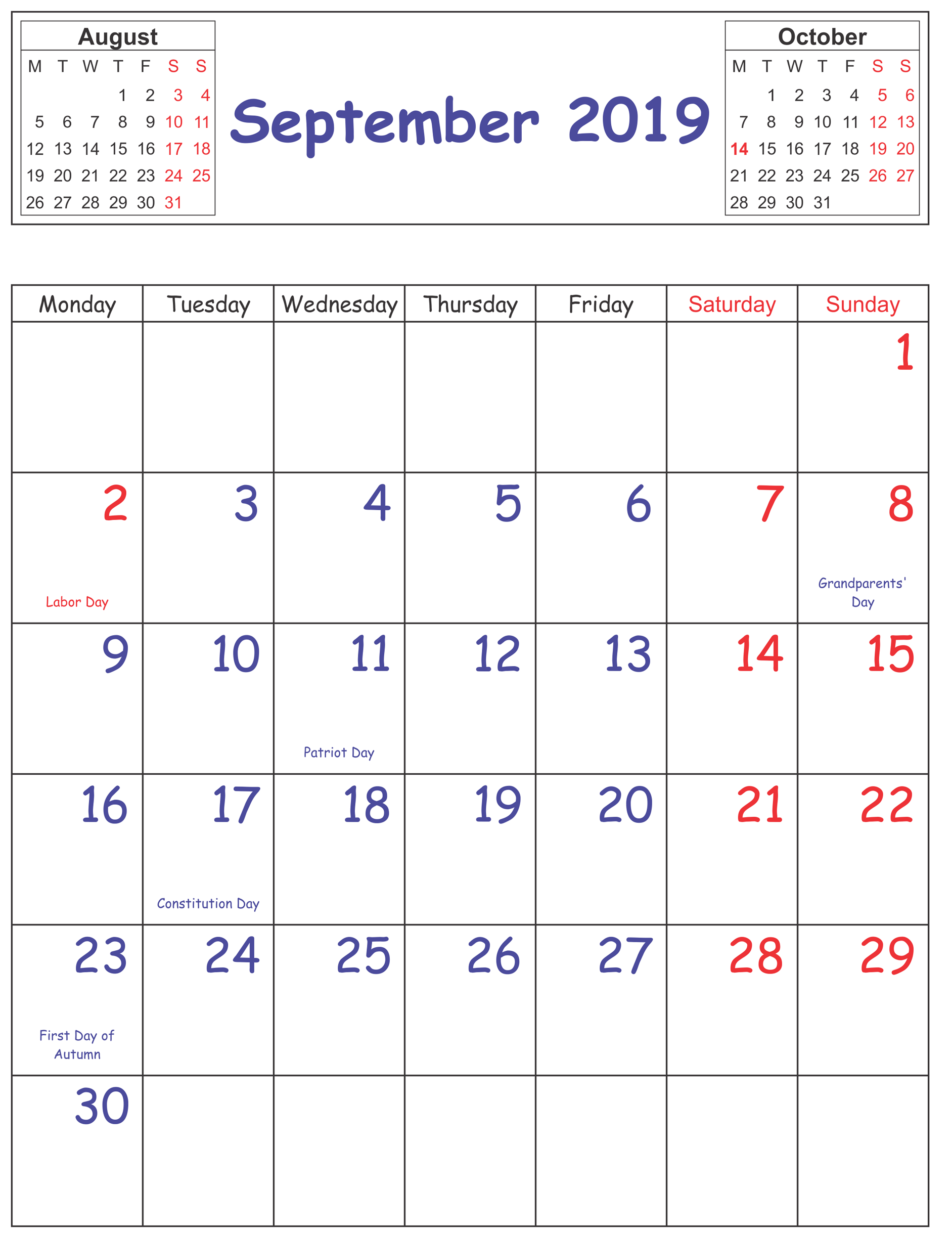 September Holidays 2019 UK Calendar