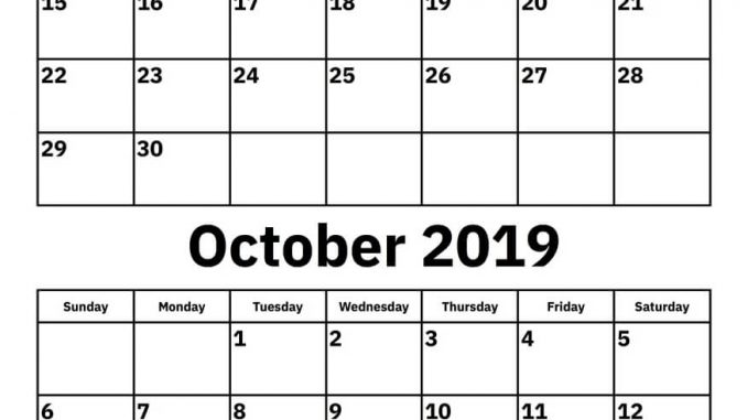September October 2019 Calendar Template