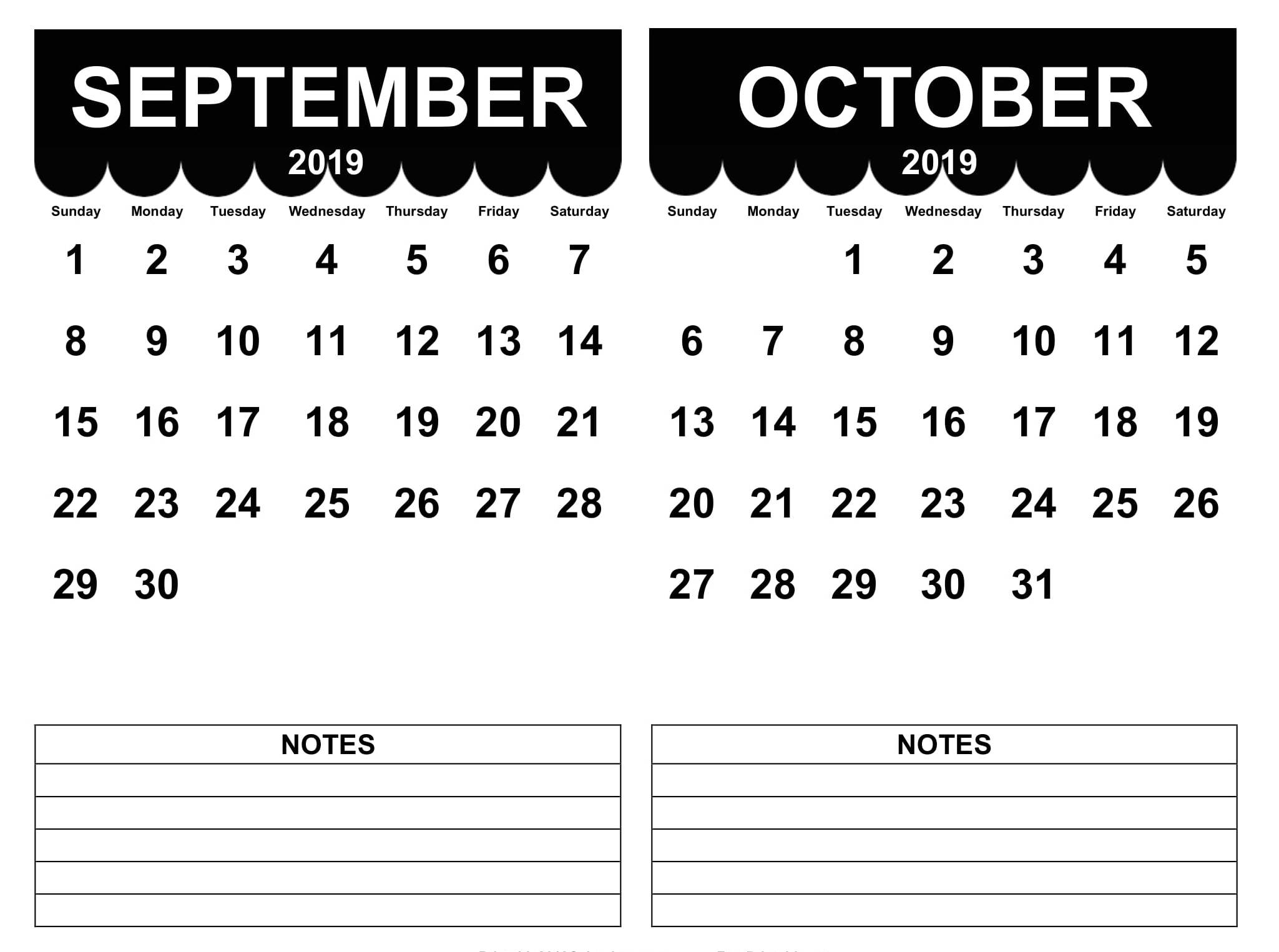September October 2019 Printable Calendar