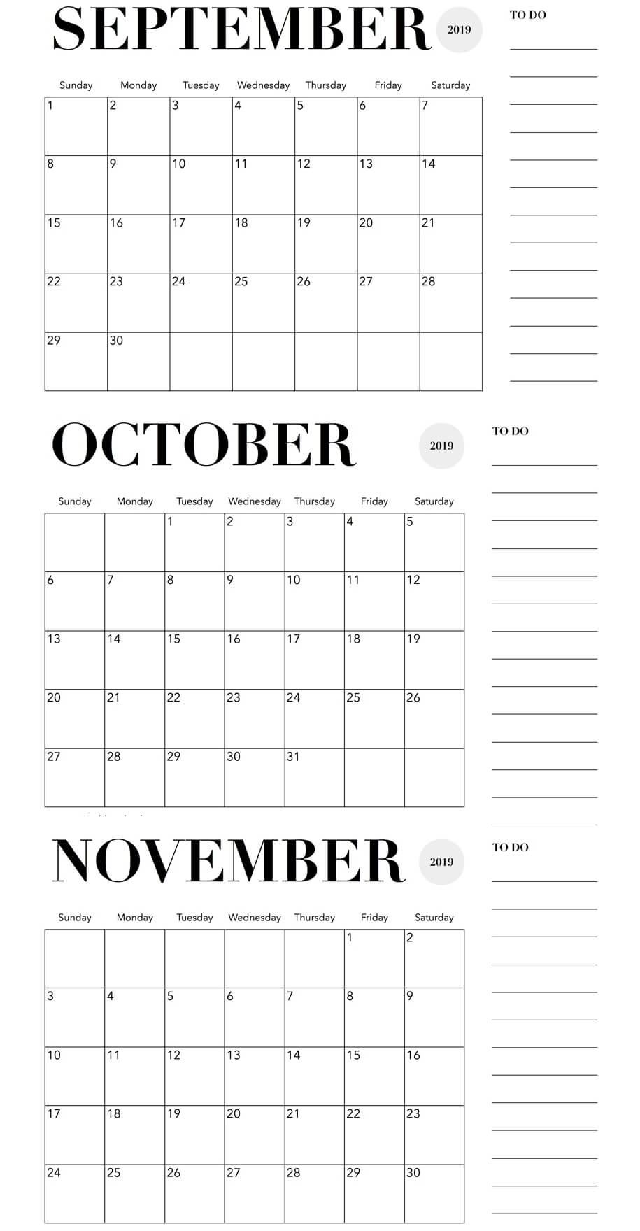 September October November 2019 Calendar With Notes