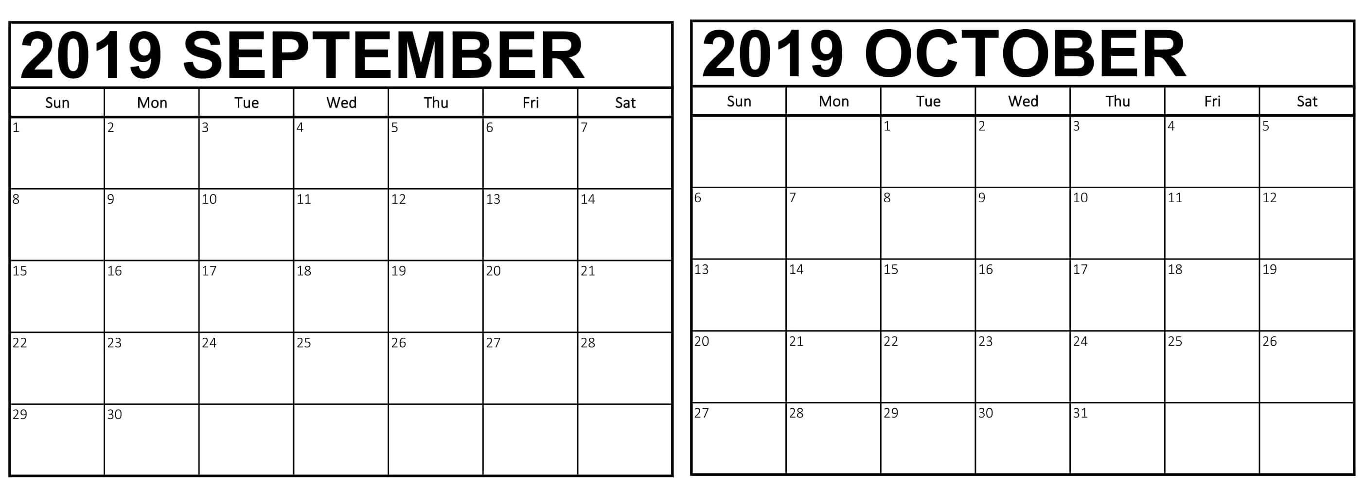 September and October 2019 Calendar Template