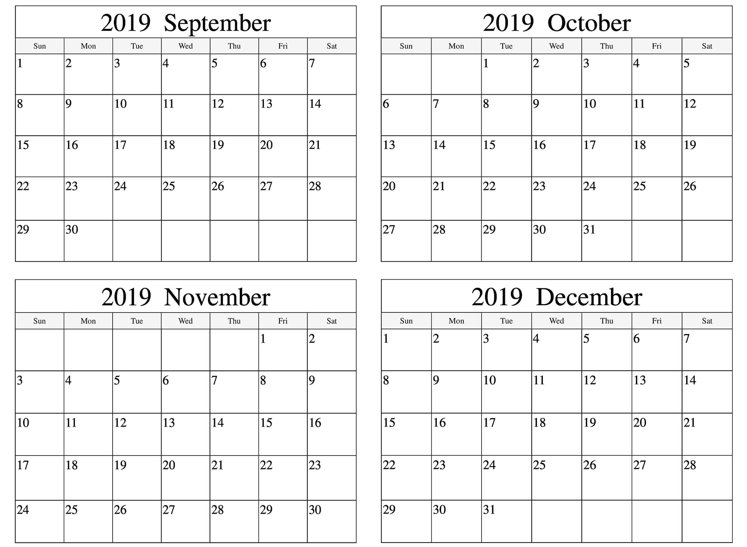 September to December 2019 Calendar Template