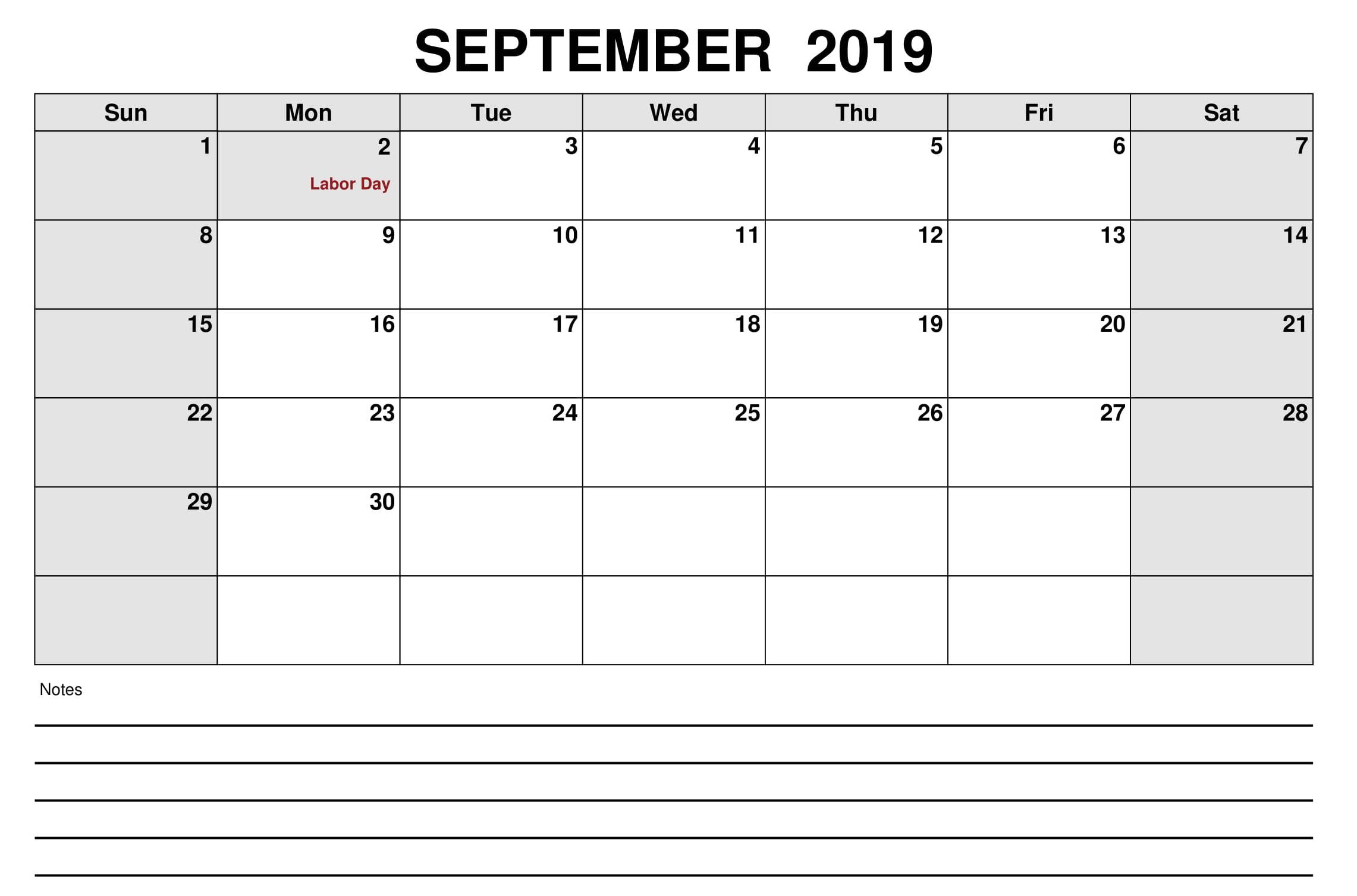 USA Holidays 2019 September Calendar