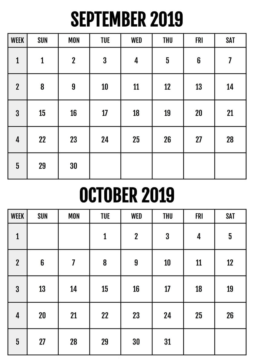 Weekly September and October 2019 Calendar